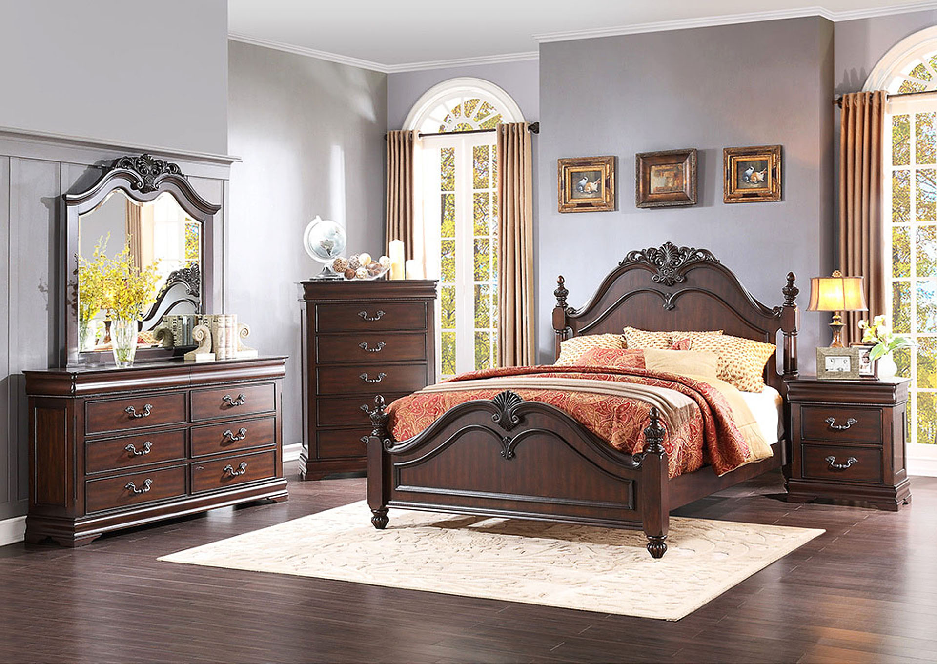 Mont Belvieu Cherry Dresser w/ 2 Hidden Drawers,Homelegance