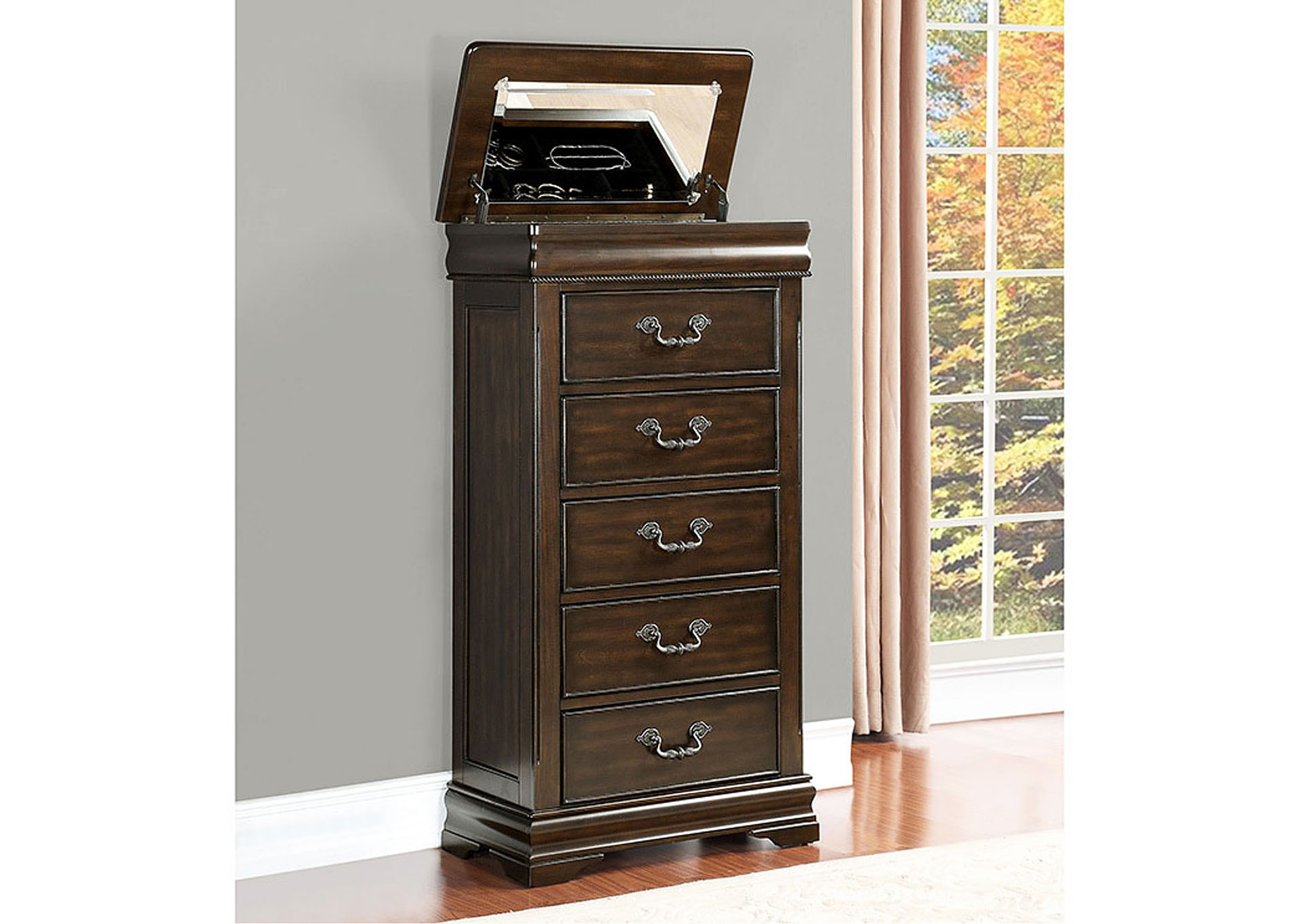 Mont Belvieu Cherry Lift-top Lingerie Drawer Chest,Homelegance