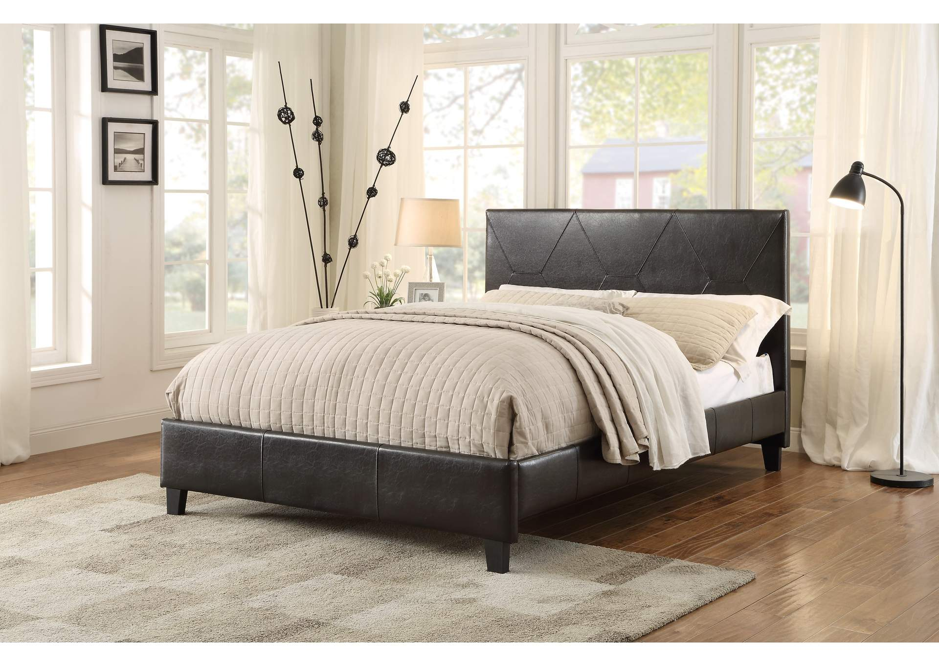 Deleon Dark Brown Upholstered Eastern King Platform Bed,Homelegance