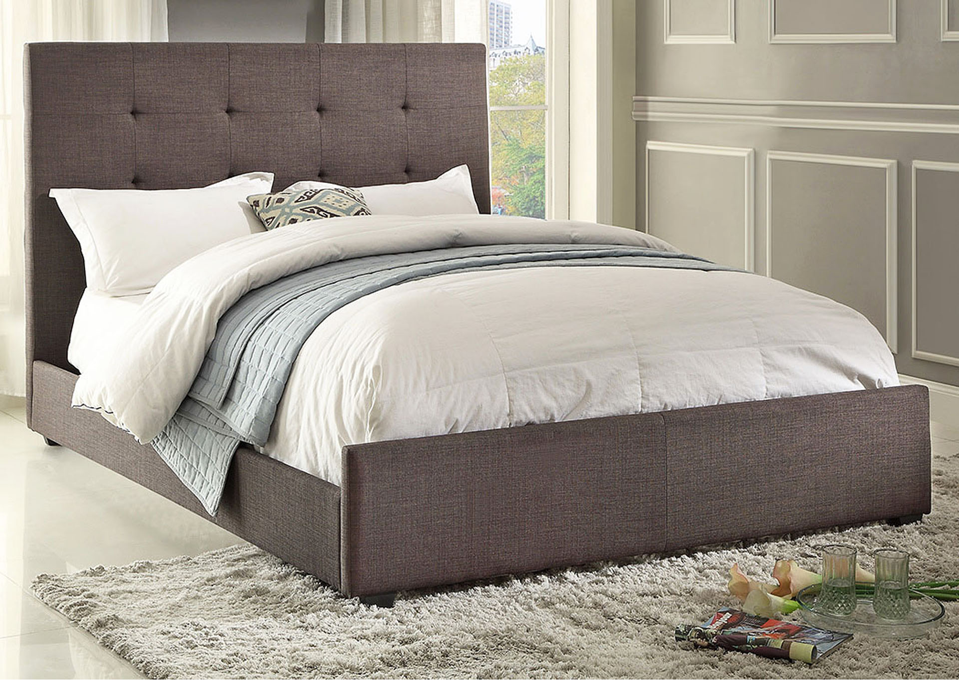Cadmus Dark Gray Upholstered California King Bed,Homelegance