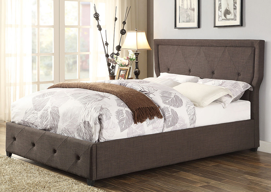 Thain Dark Gray Upholstered Full Bed,Homelegance
