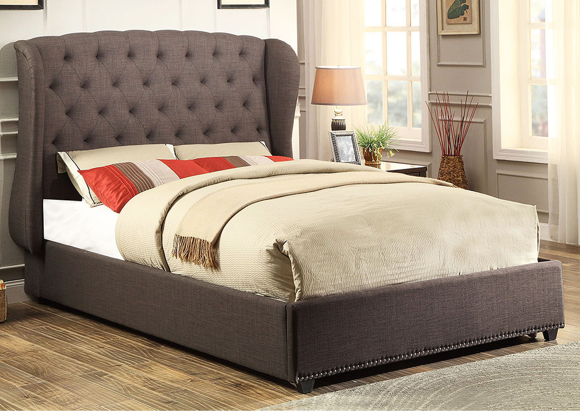 Chardon Dark Gray Upholstered Queen Bed,Homelegance