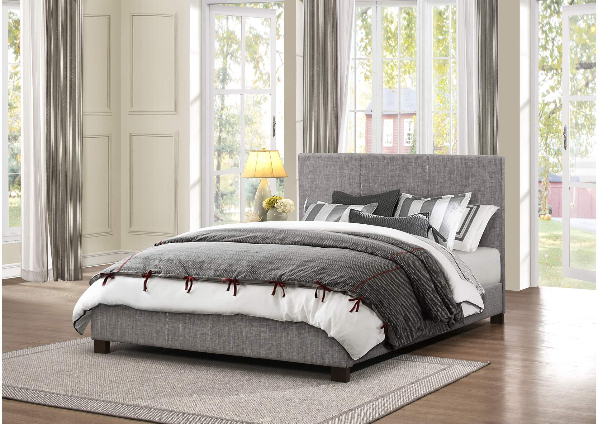 Chasin Gray Upholstered California King Platform Bed,Homelegance