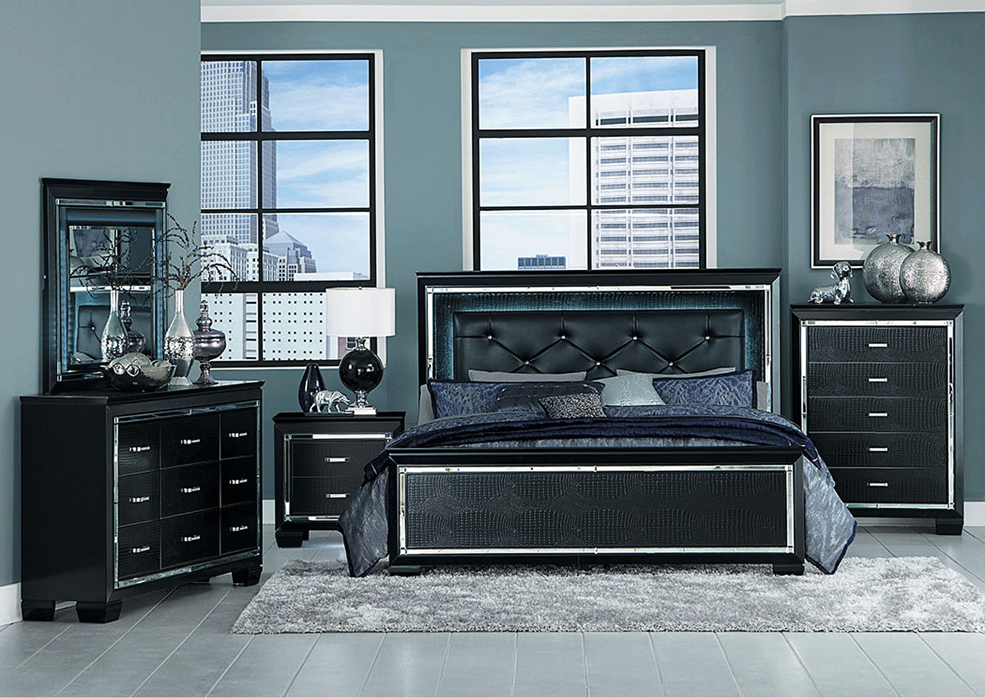 Eastern King Bed w/LED Lighting, Black,Homelegance