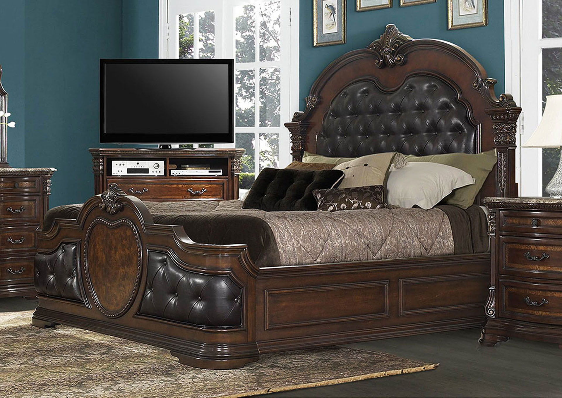 Queen Bed, Bonded Leather,Homelegance