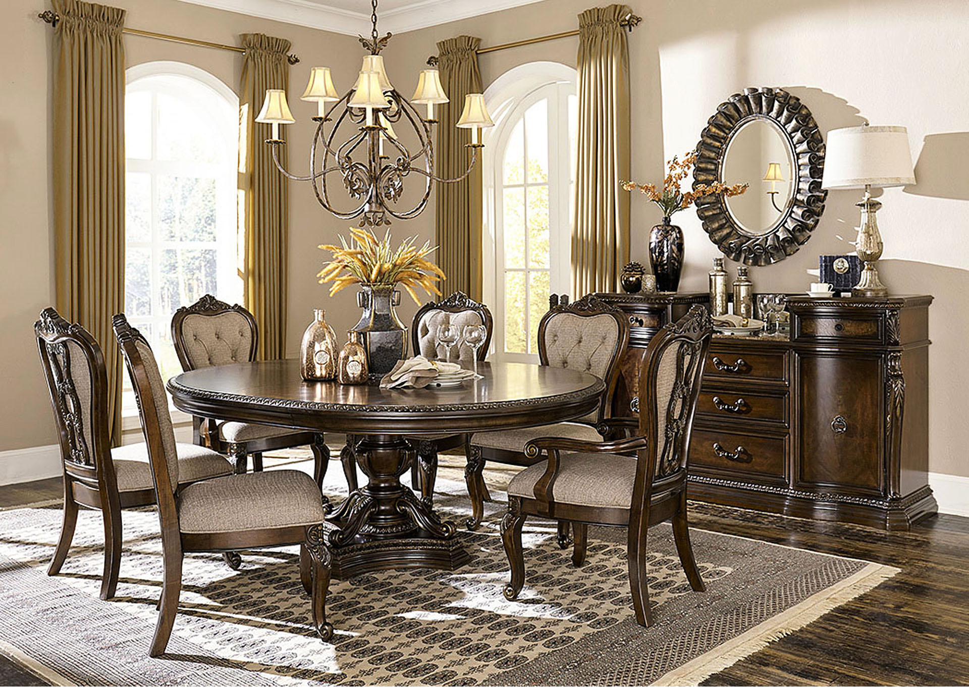 Round/Oval Pedestal Dining Table,Homelegance