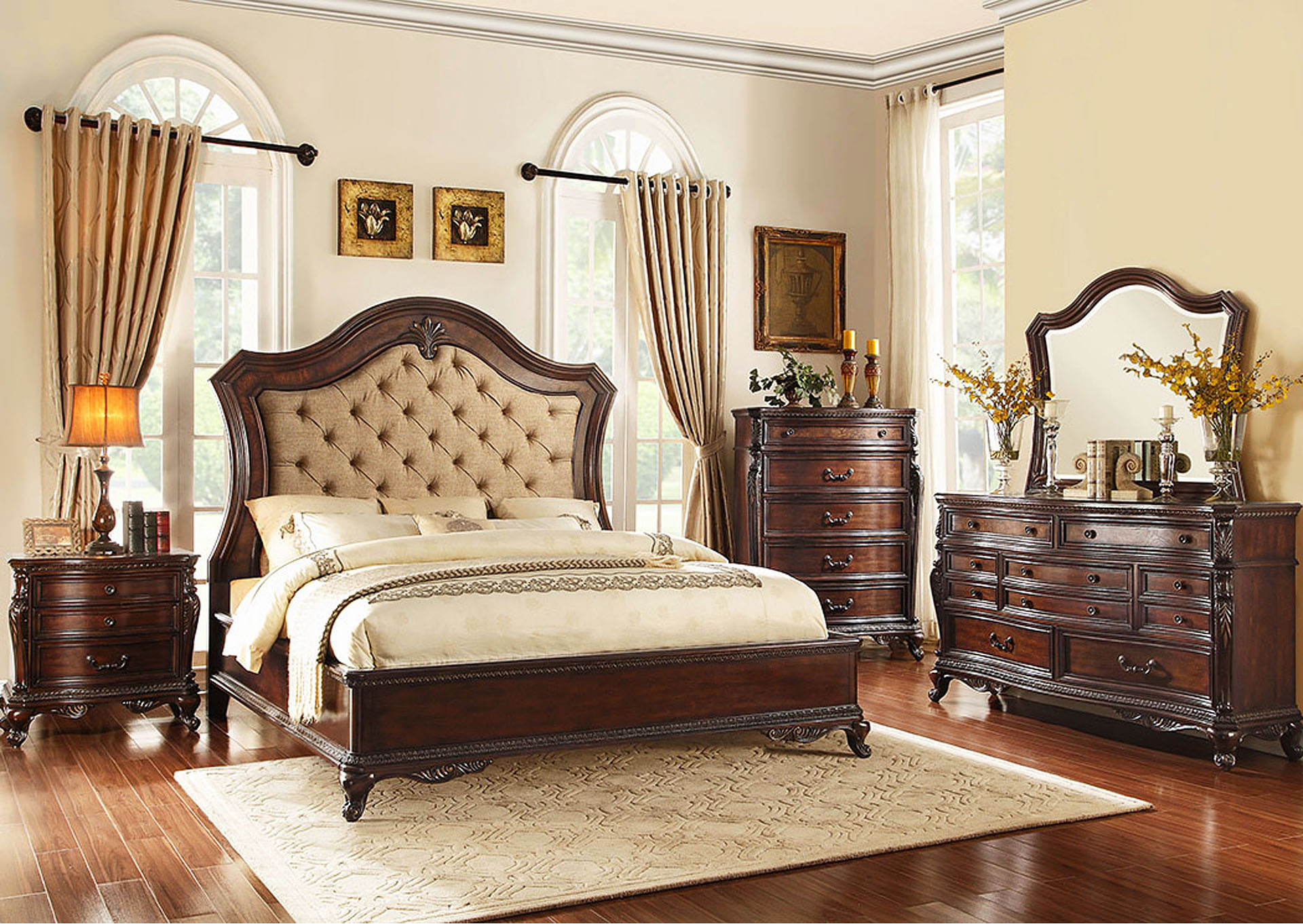 Queen Bed, Fabric,Homelegance