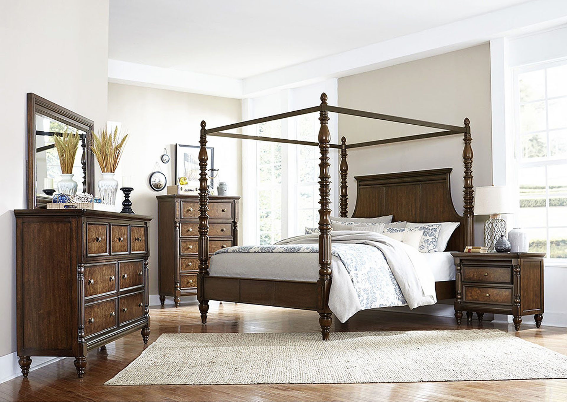 California King Canopy Poster Bed,Homelegance