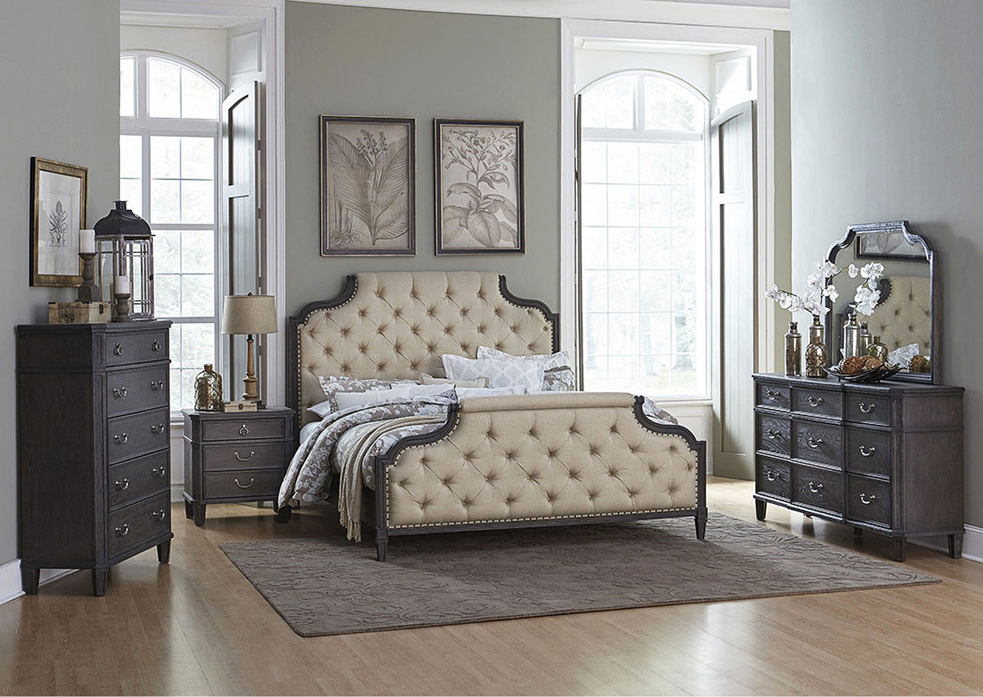 Eastern King Bed, Beige Fabric,Homelegance