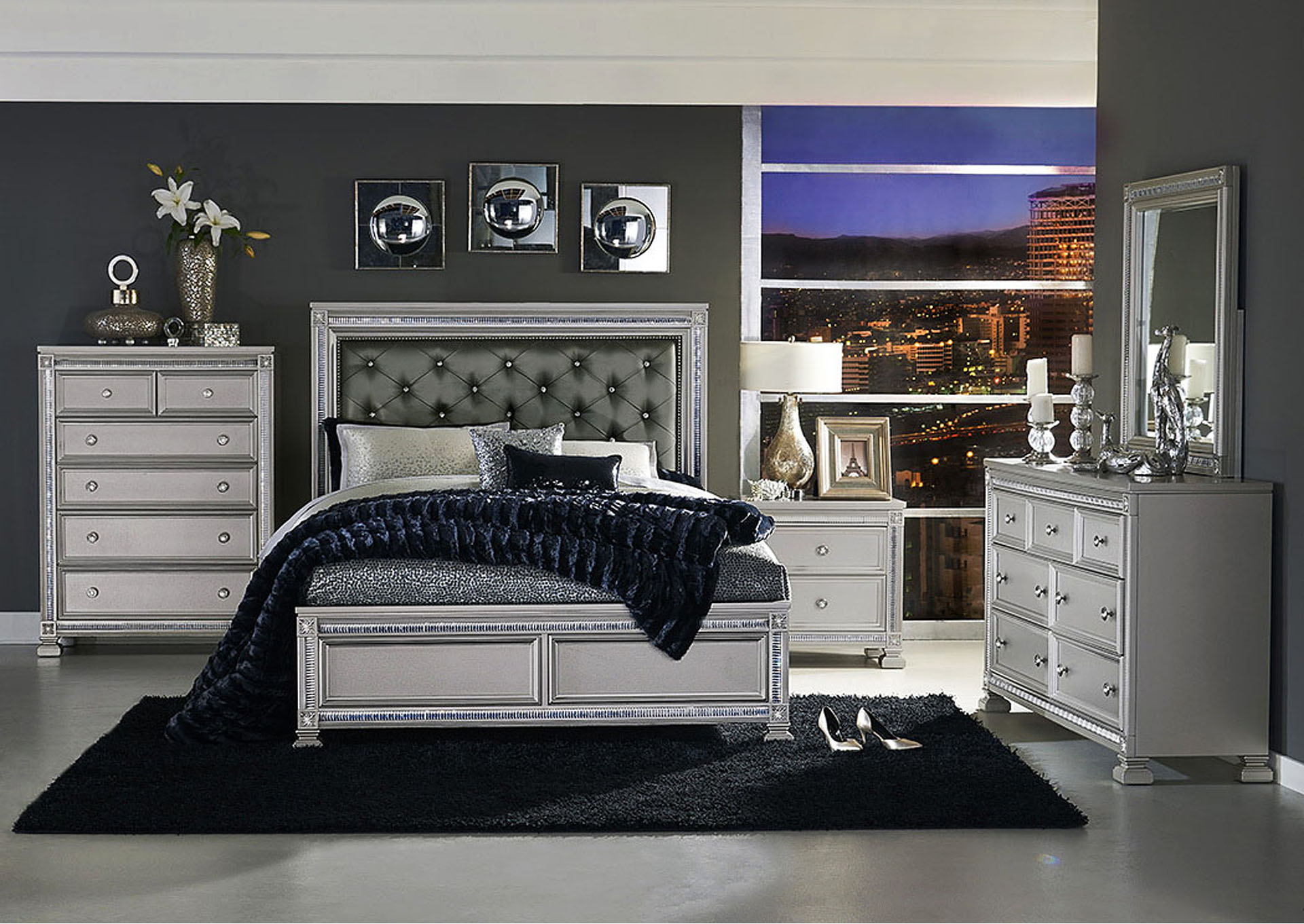 Queen Bed, Dark Gray Bi-Cast Vinyl Headboard,Homelegance