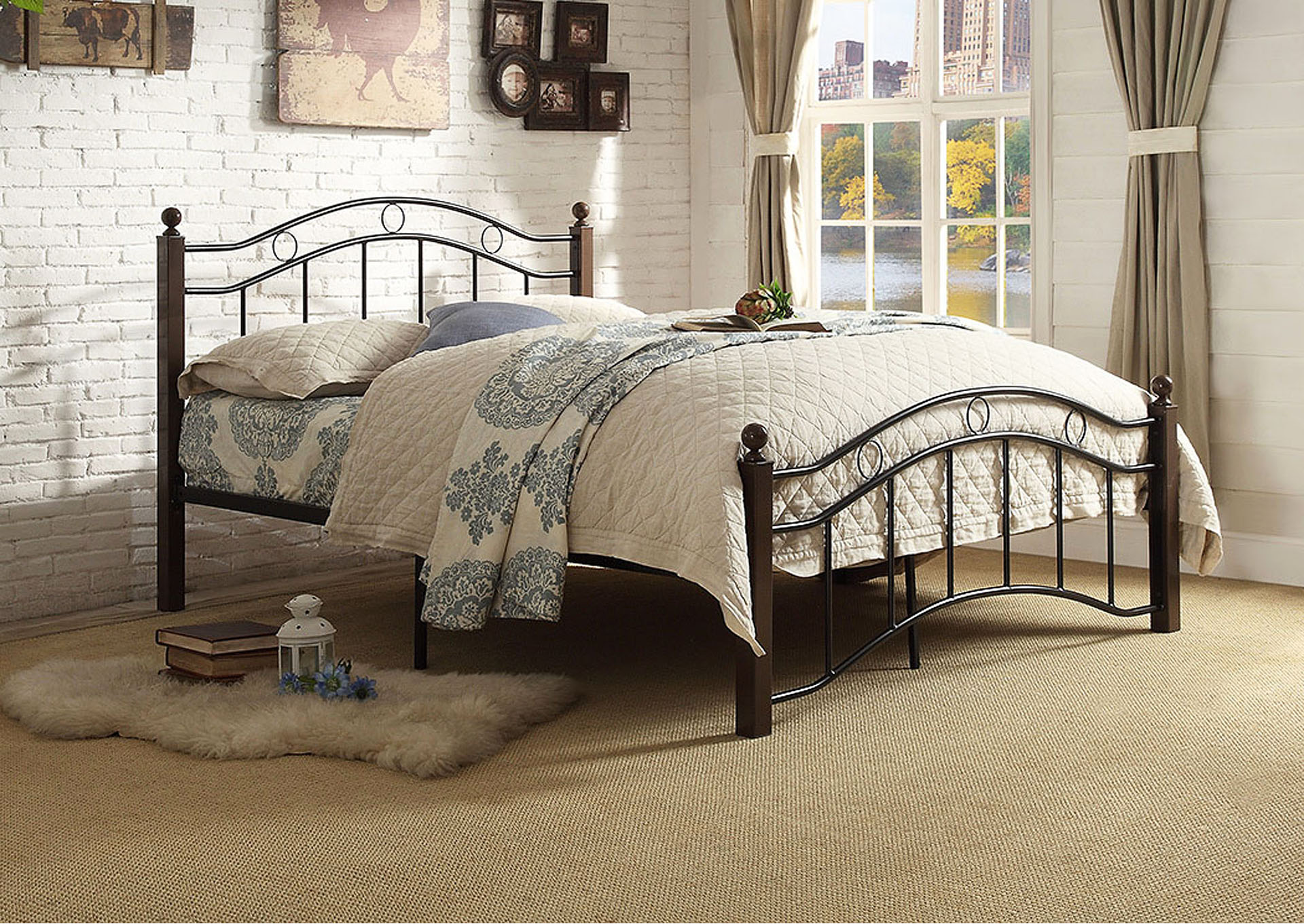 Averny Black and Brown Platform Full Bed,Homelegance