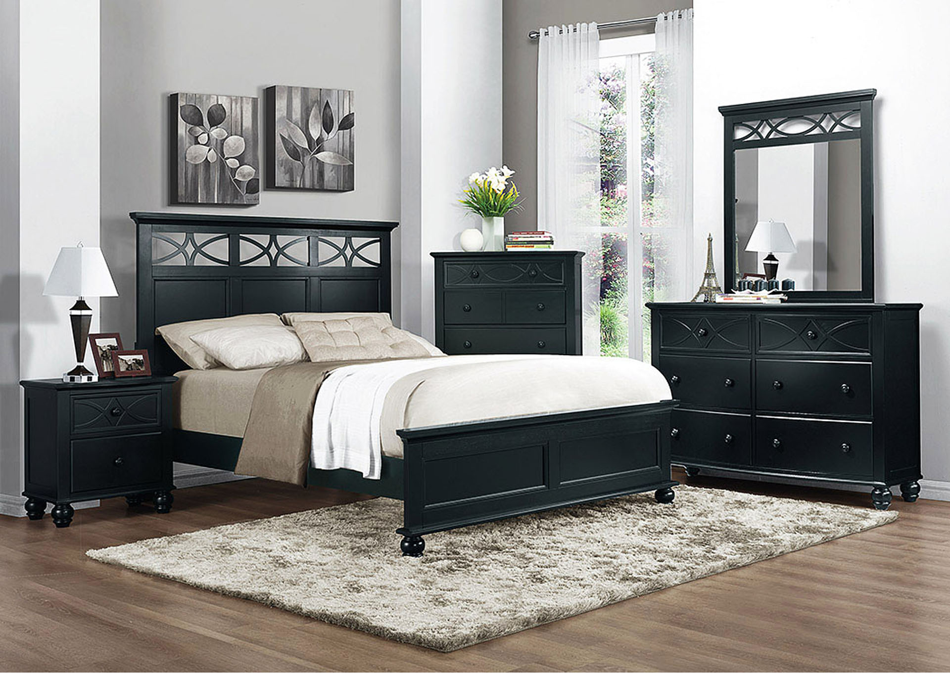 Sanibel Black Twin Panel Bed,Homelegance