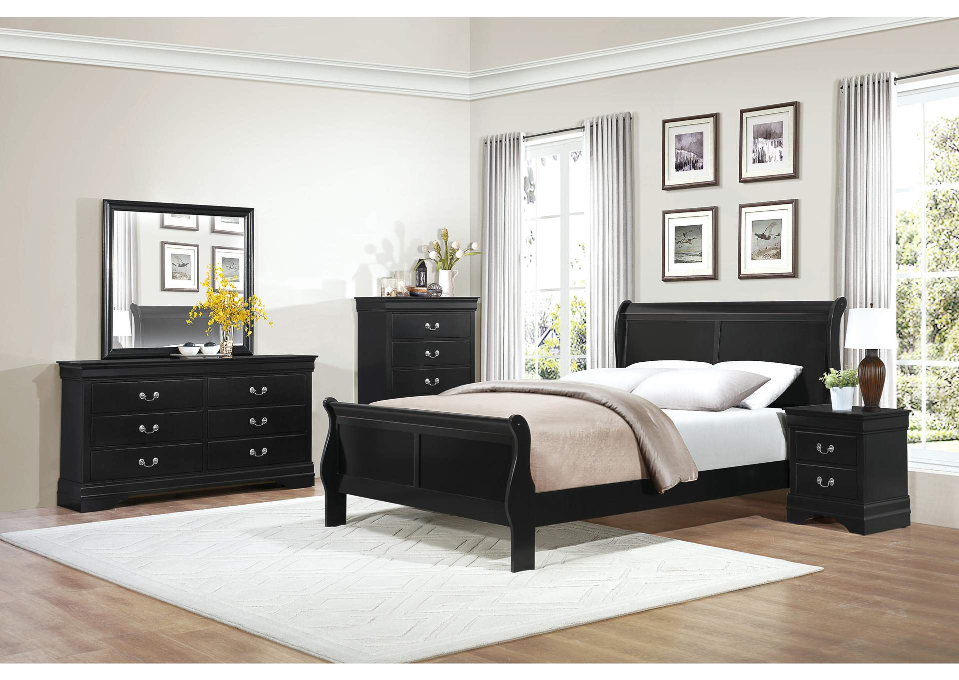 Mayville Burnished Black Queen Sleigh Bed w/ Dresser, Mirror, Drawer Chest and Nightstand,Homelegance