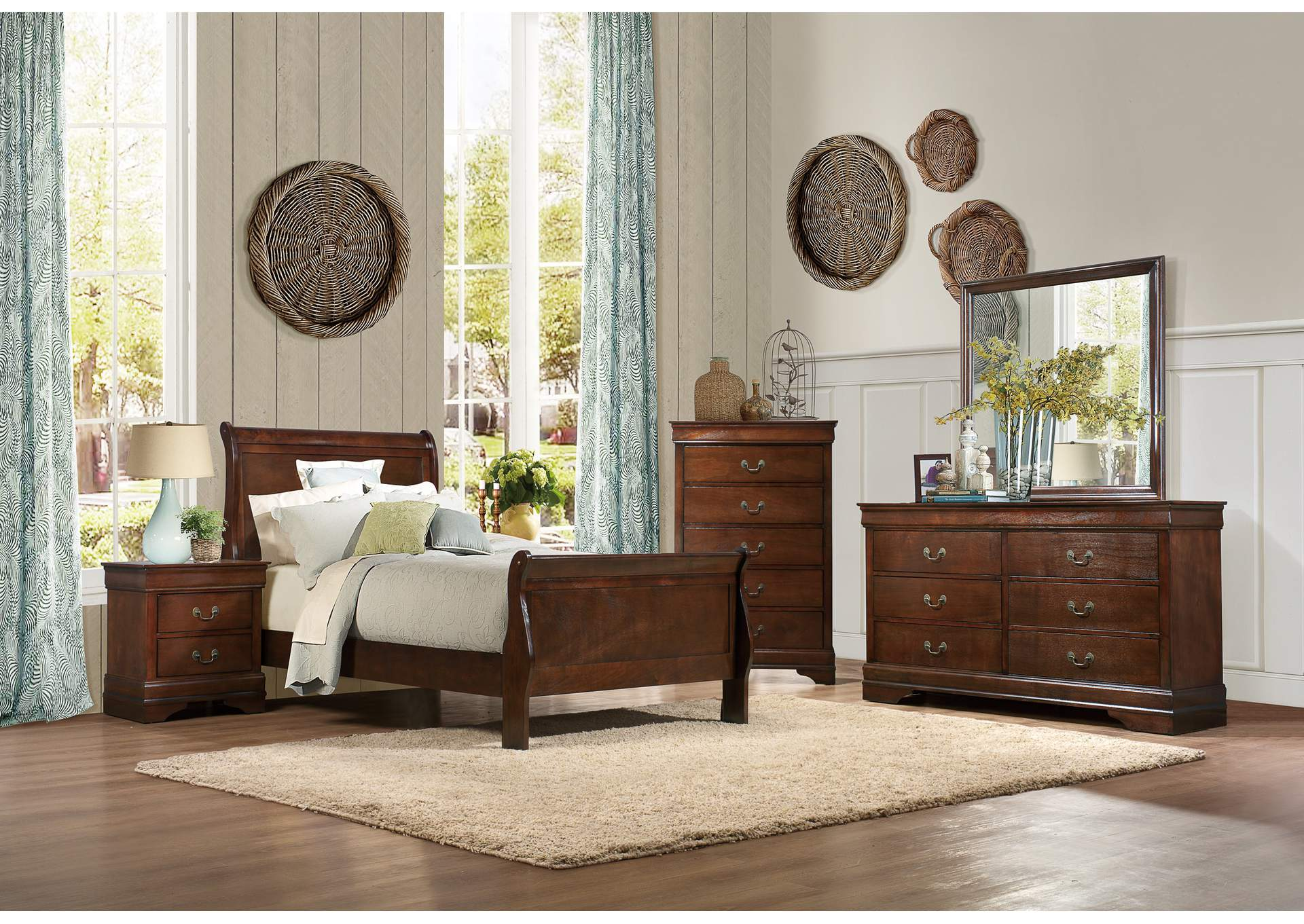 Mayville Burnish Brown Cherry Twin Sleigh Bed w/ Dresser, Mirror and Nightstand,Homelegance