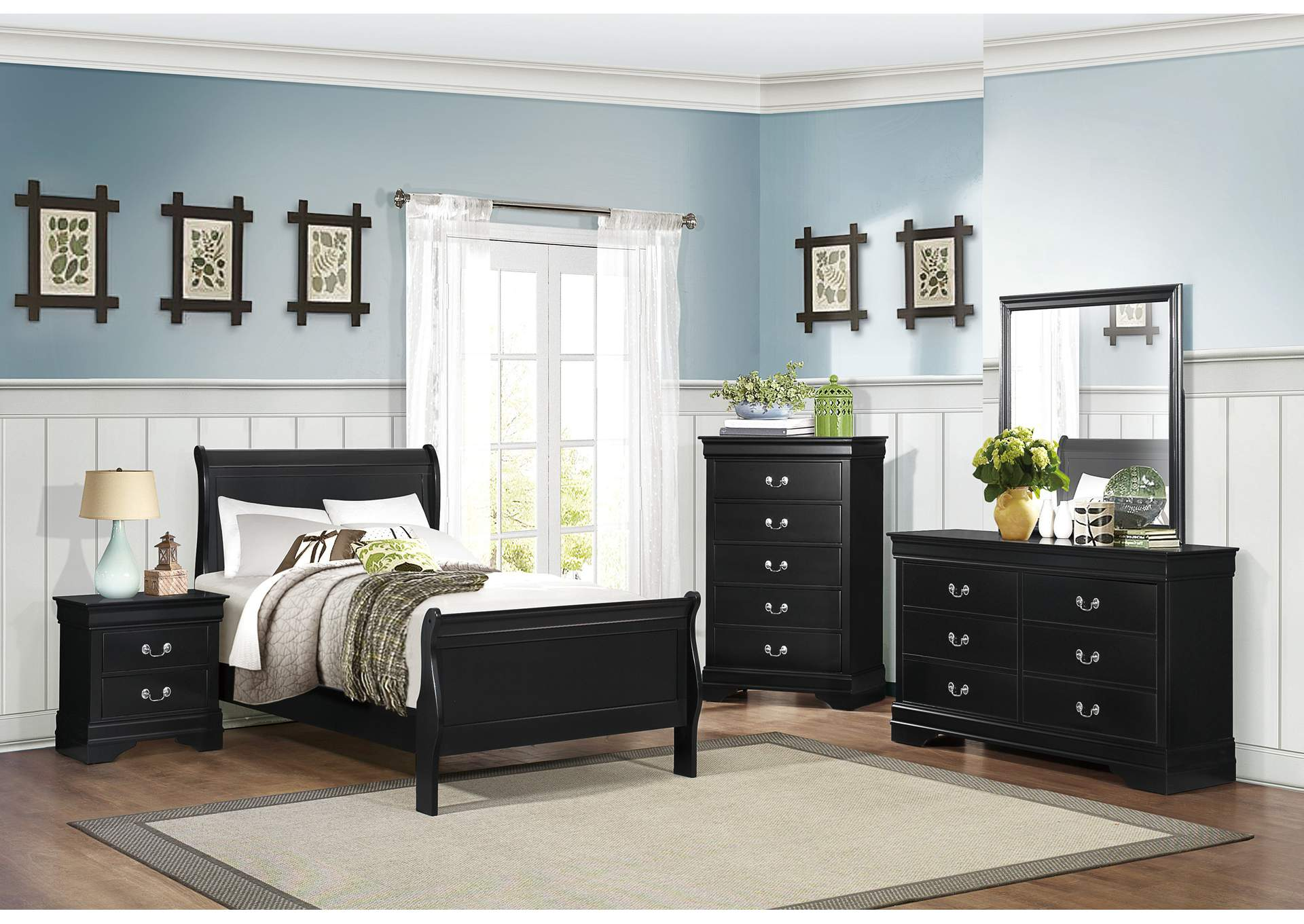Mayville Burnished Black Twin Sleigh Panel Bed,Homelegance