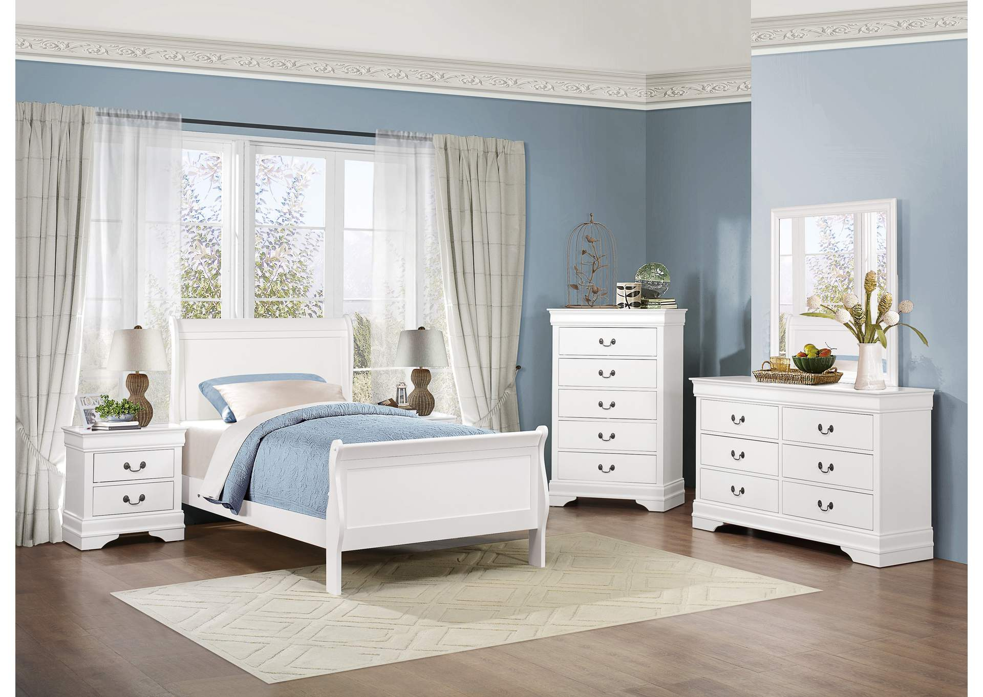 Mayville Burnished White Twin Sleigh Bed,Homelegance