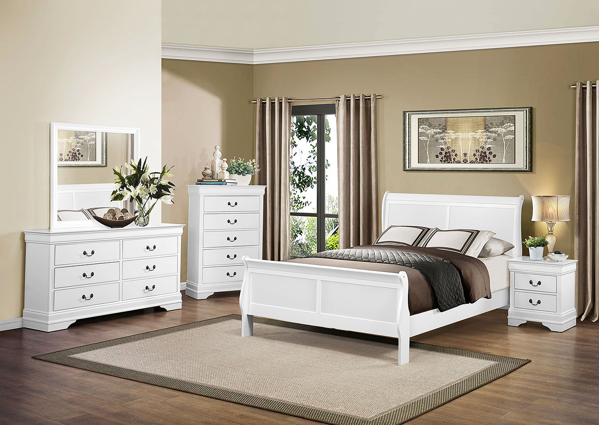 California King Bed, White,Homelegance