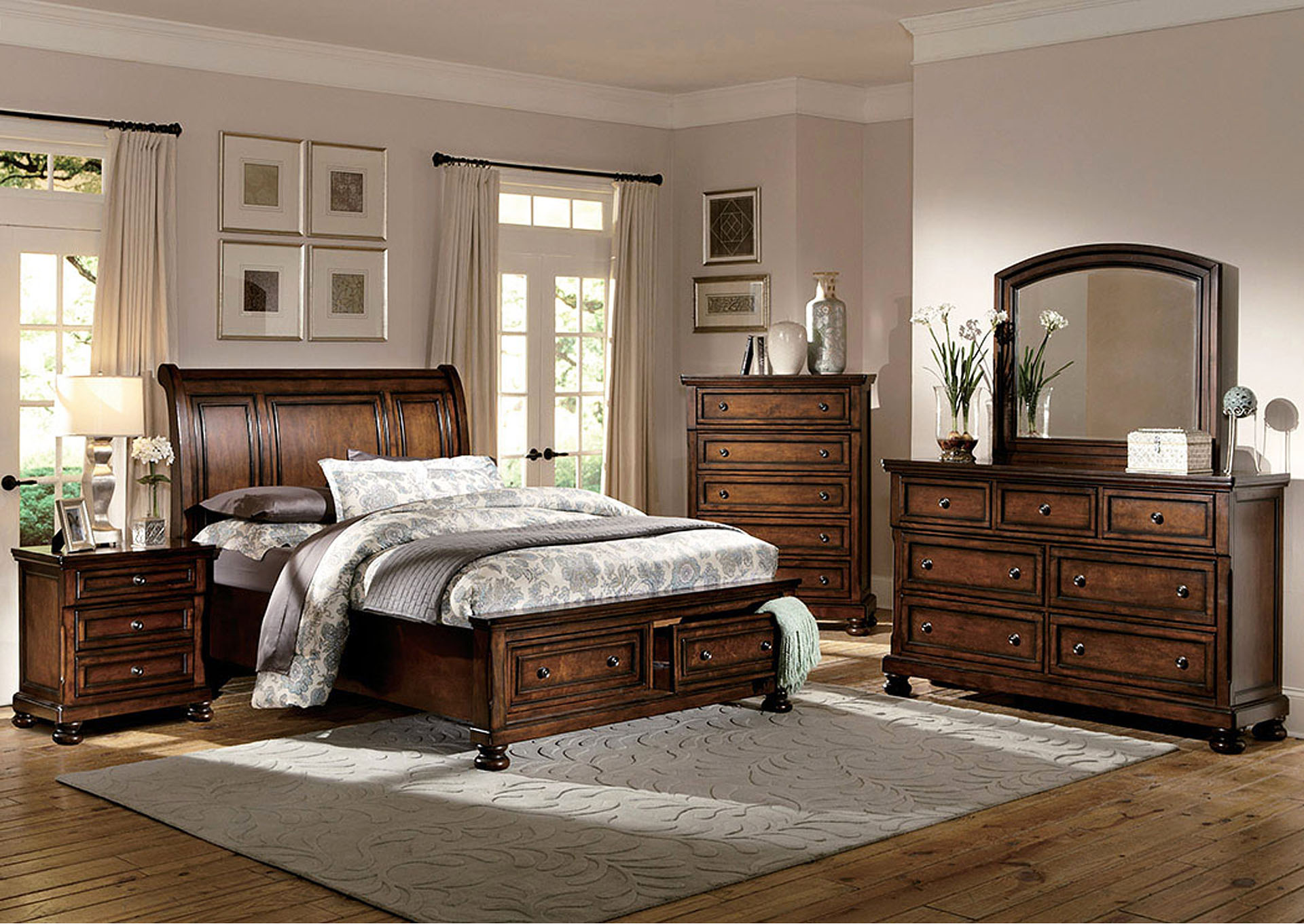 Cumberland Medium Brown Queen Storage Bed w/ Dresser, Mirror, and Nightstand,Homelegance