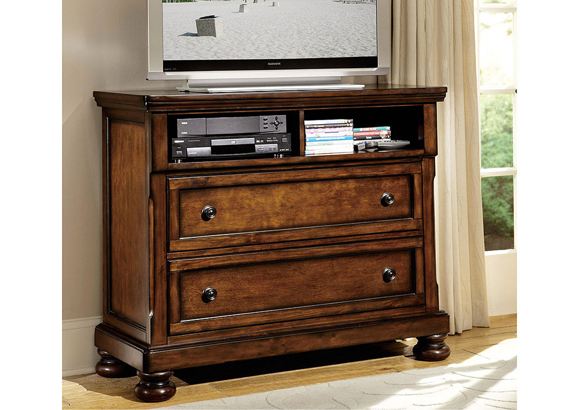 Cumberland Medium Brown TV Chest,Homelegance