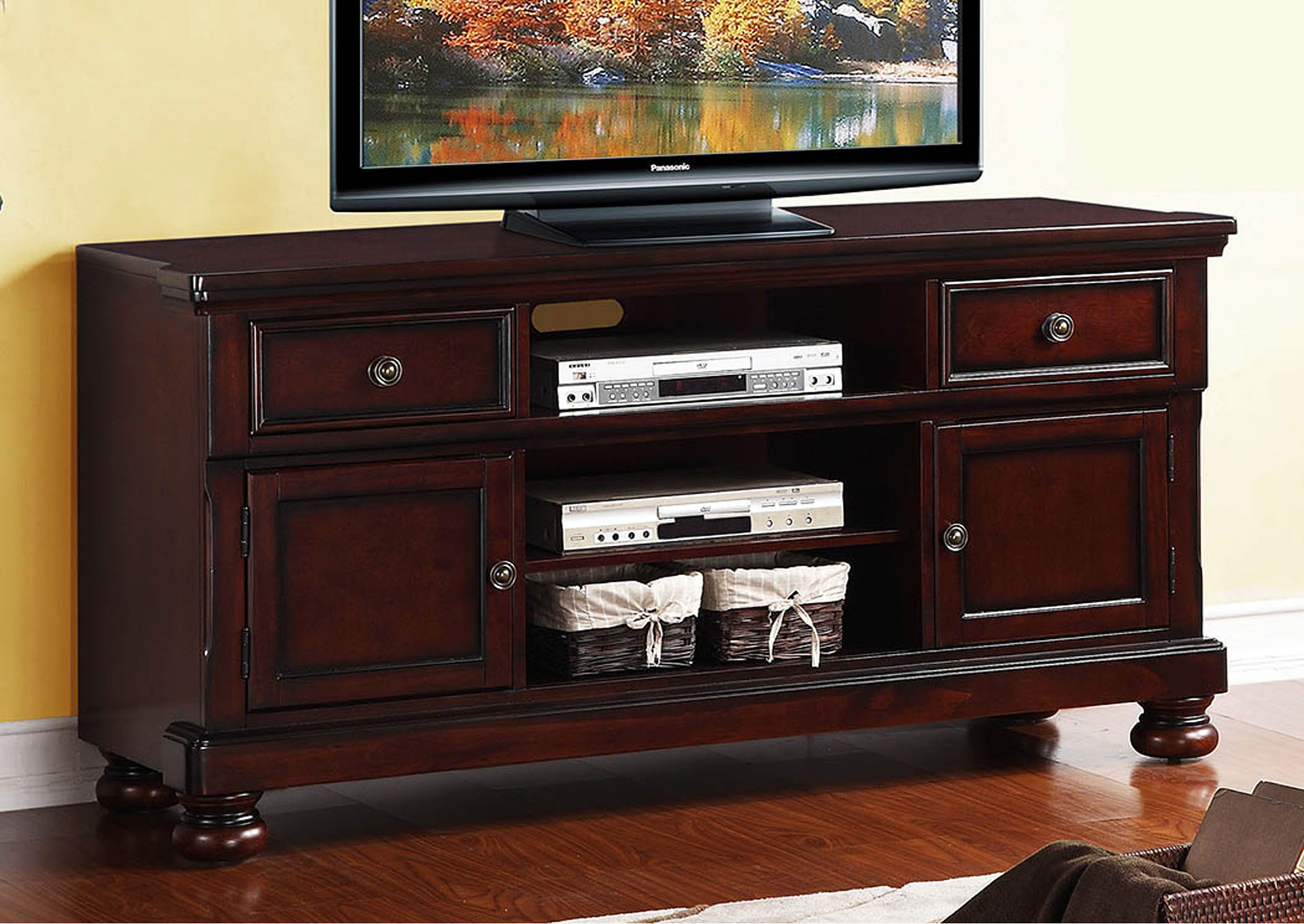 Cumberland Medium Brown TV Stand,Homelegance