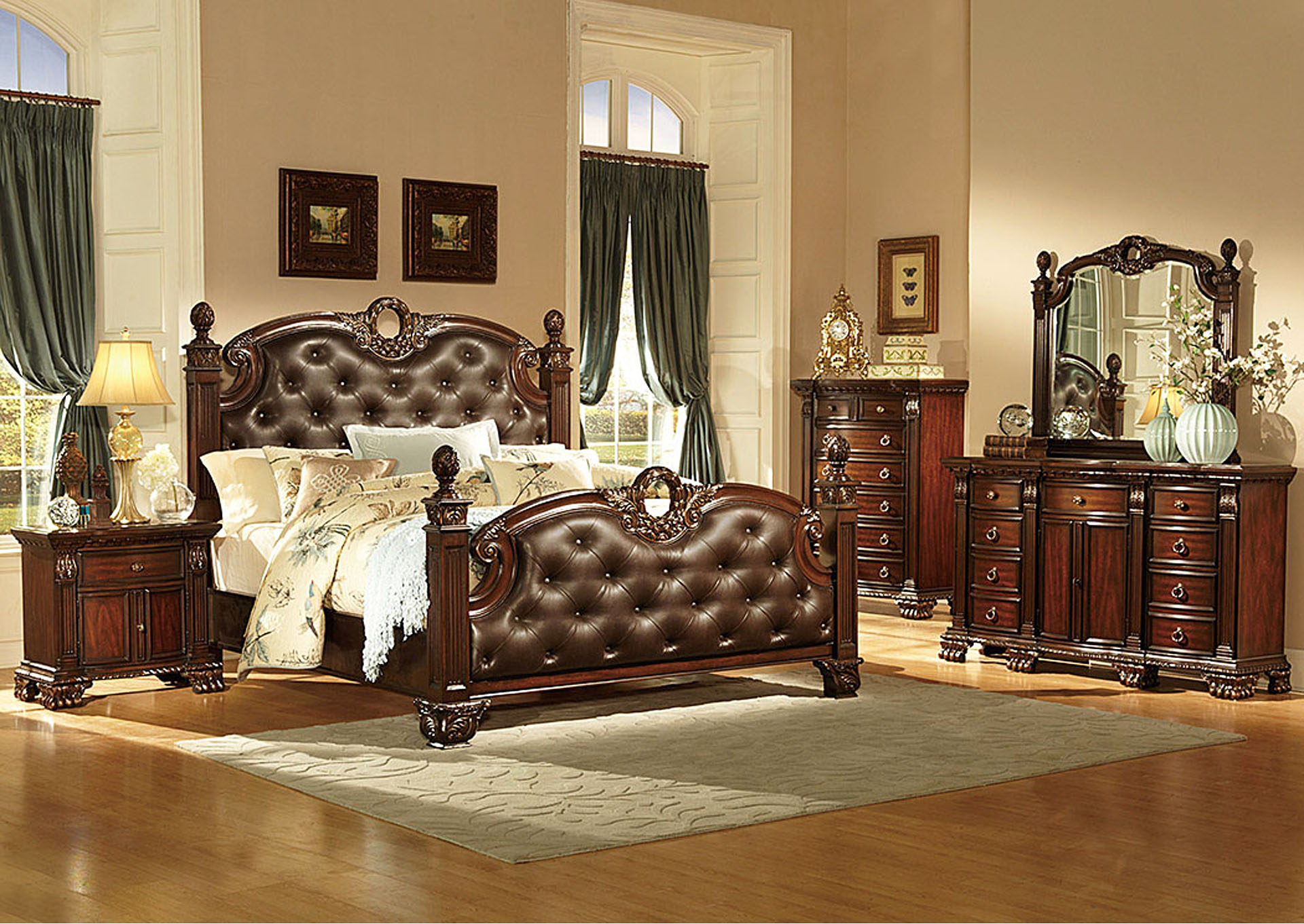 Orleans Warm Cherry Eastern King Bonded Leather Poster Bed,Homelegance