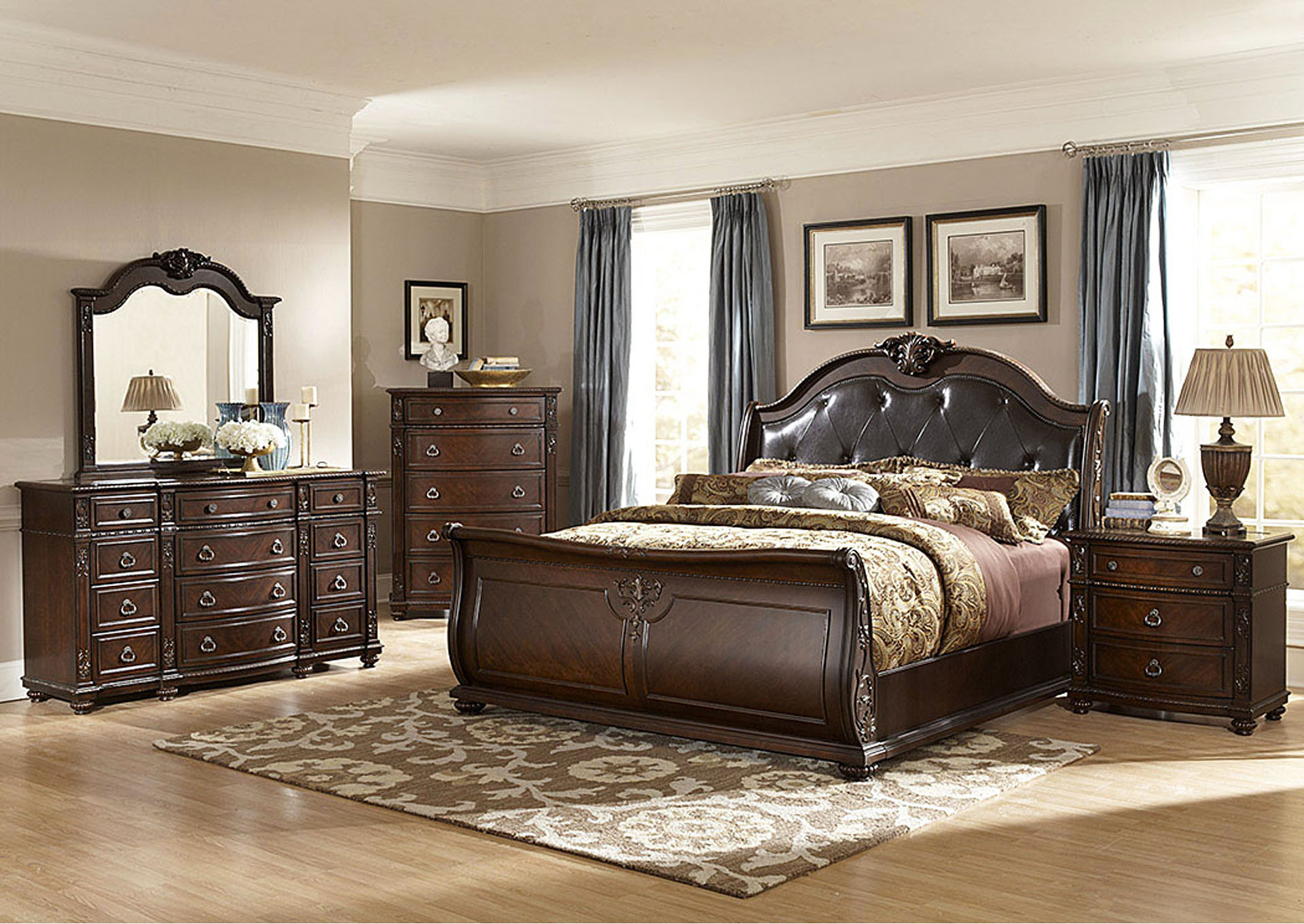 Hillcrest Manor Bonded Leather Eastern King Sleigh Bed,Homelegance