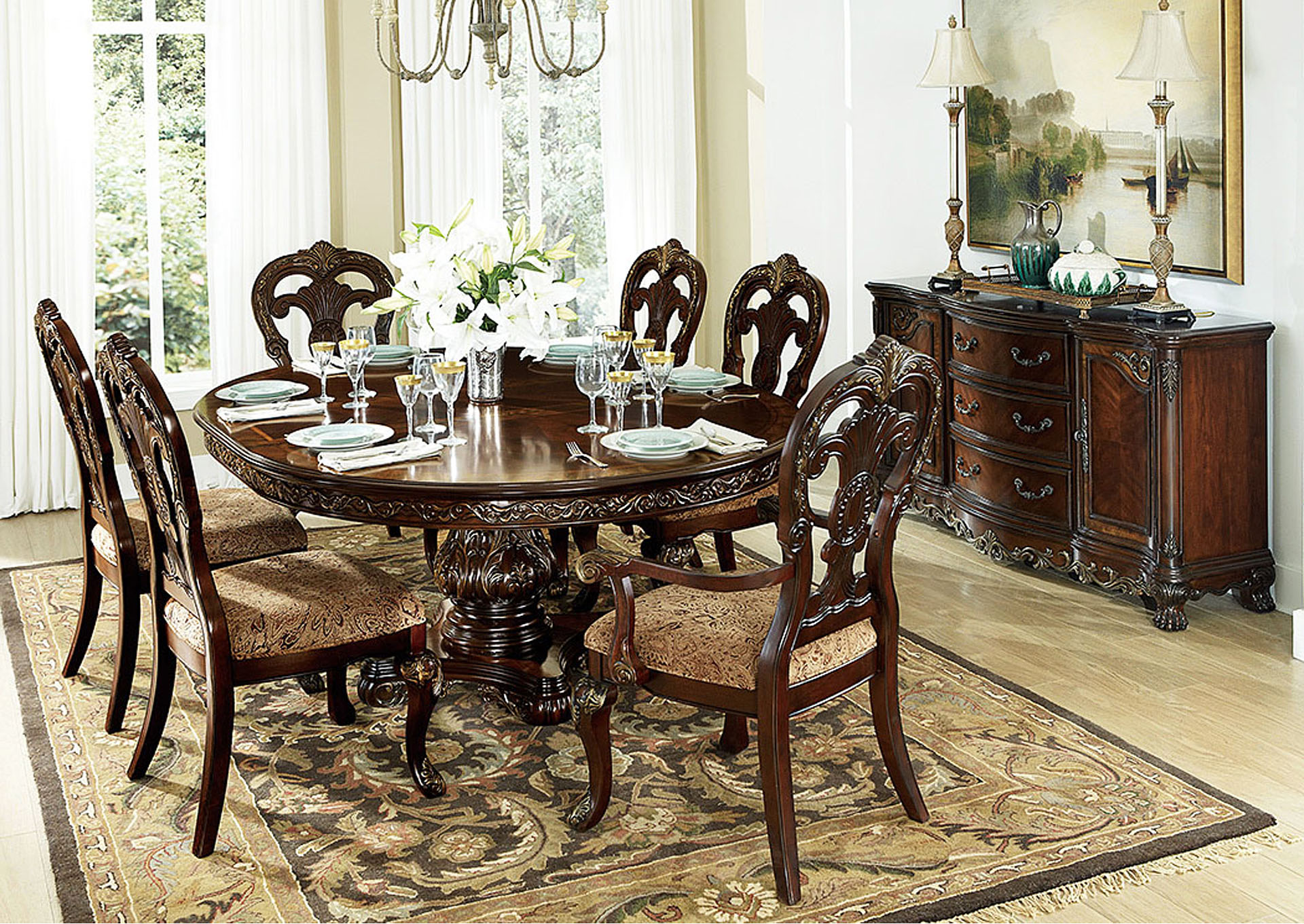 Central Furniture Mart Deryn Park Oval Dining Table Set W Side Chairs - Oval dining table for 4
