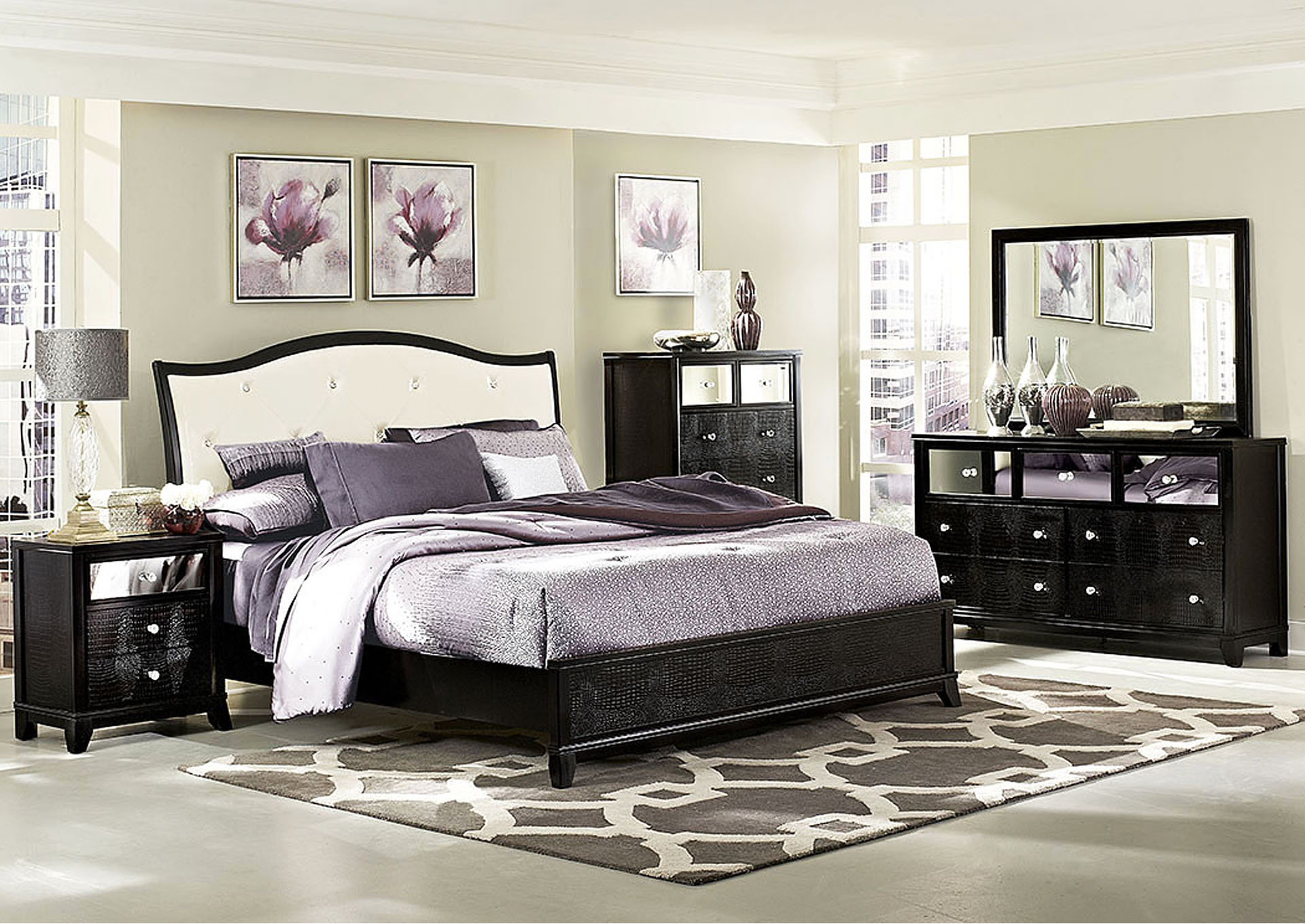 Charmant Jacqueline Upholstered Queen Bed W/Dresser, Mirror, Drawer Chest And  Nightstand,Homelegance