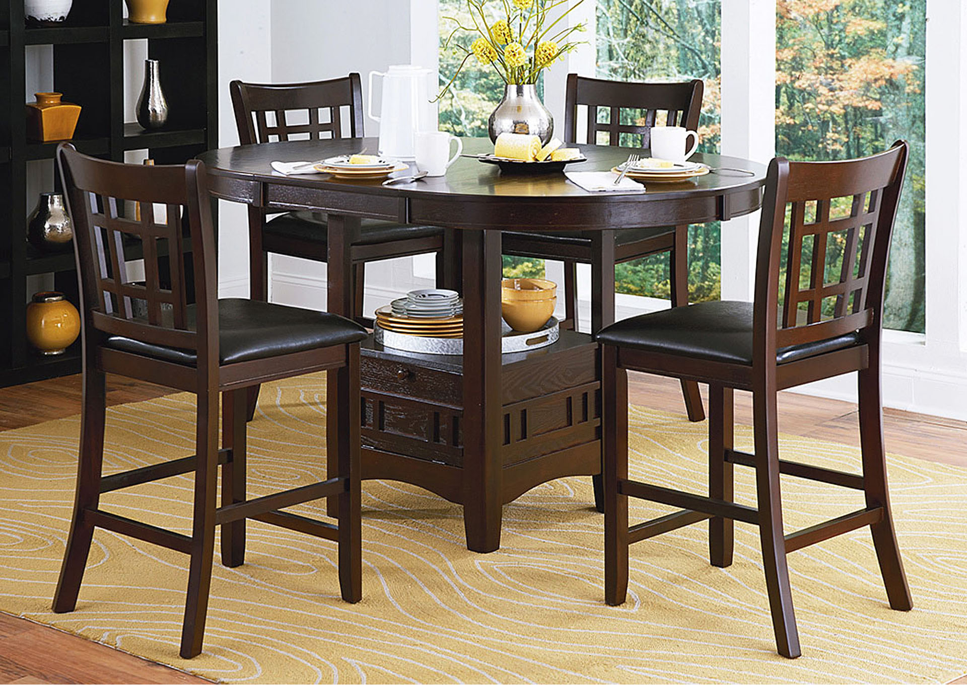 Junipero Counter Height Dining Table w/4 Counter Height Chairs,Homelegance