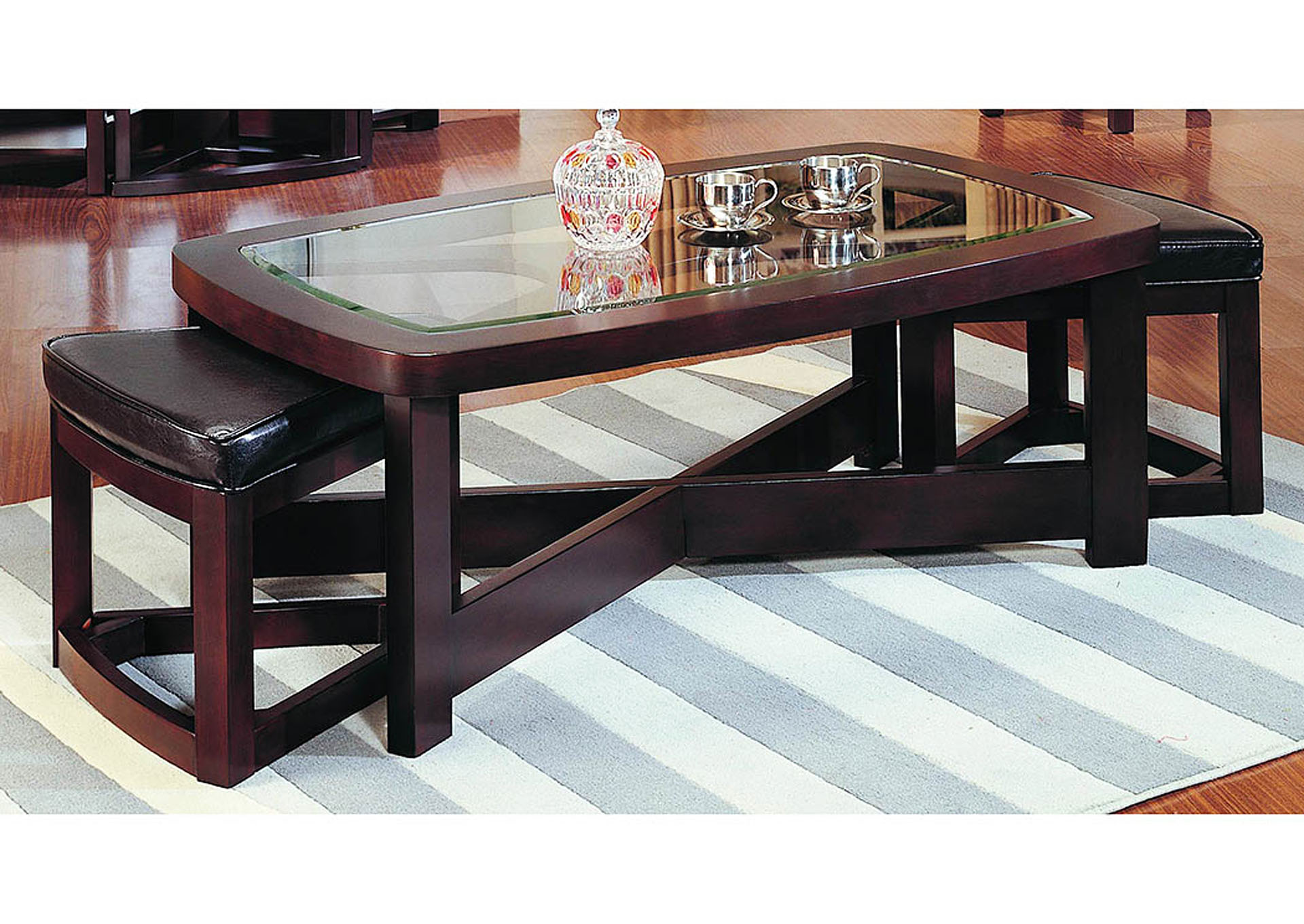 Joe B S Furniture Brussel Brown Cherry Rectangle Cocktail Table W