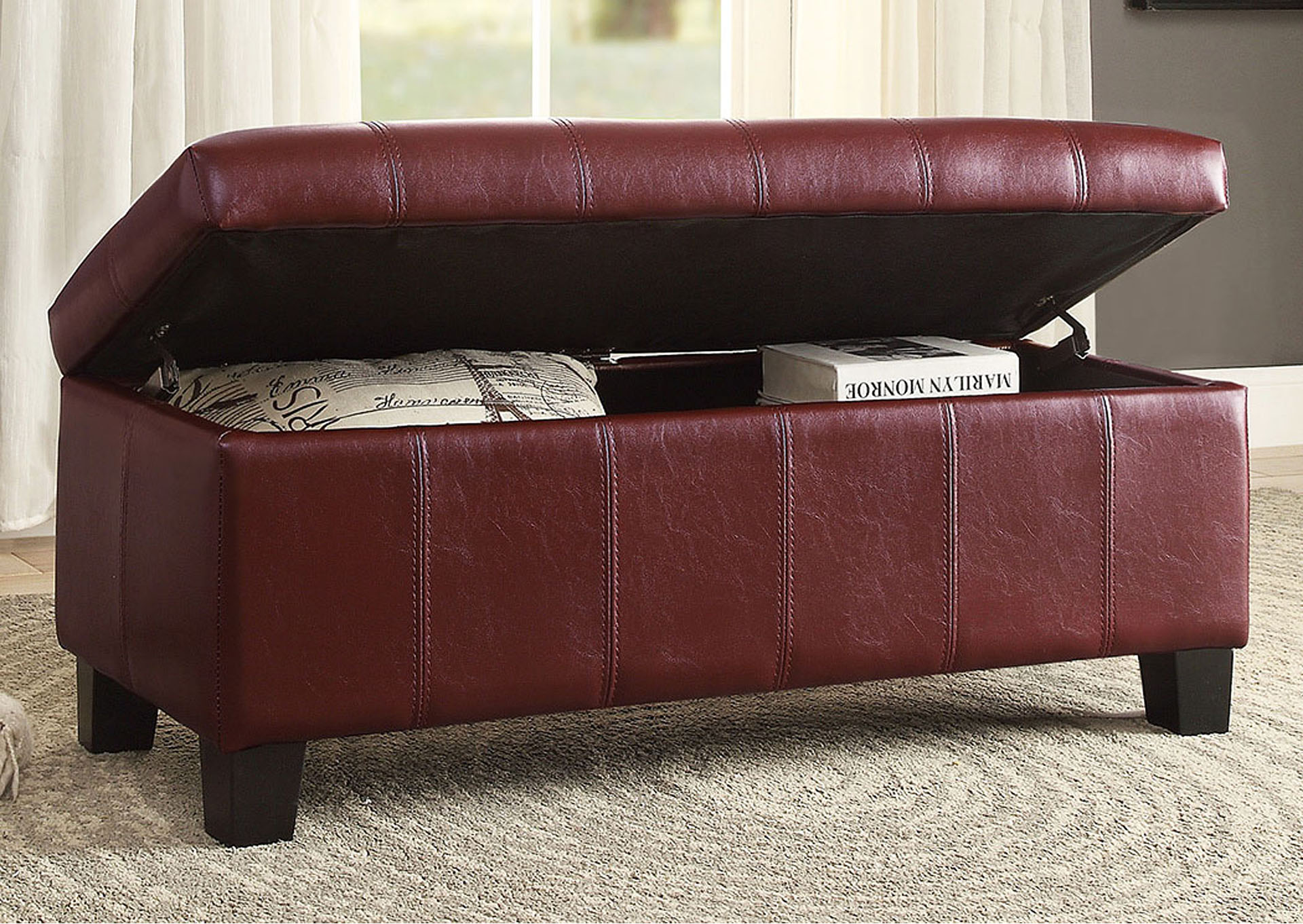 Lift Top Storage Bench, Red,Homelegance