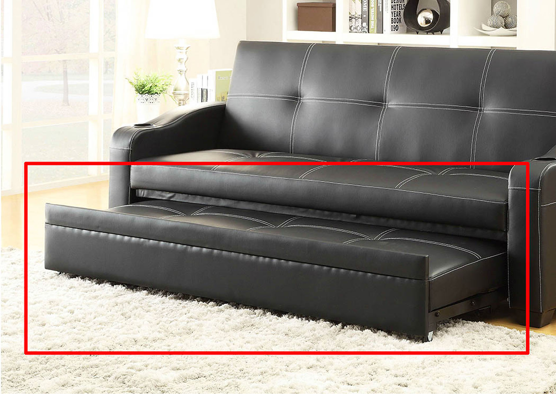 Marcelo Black Lounger Sofa w/Pull-Out Trundle & Arms,Homelegance