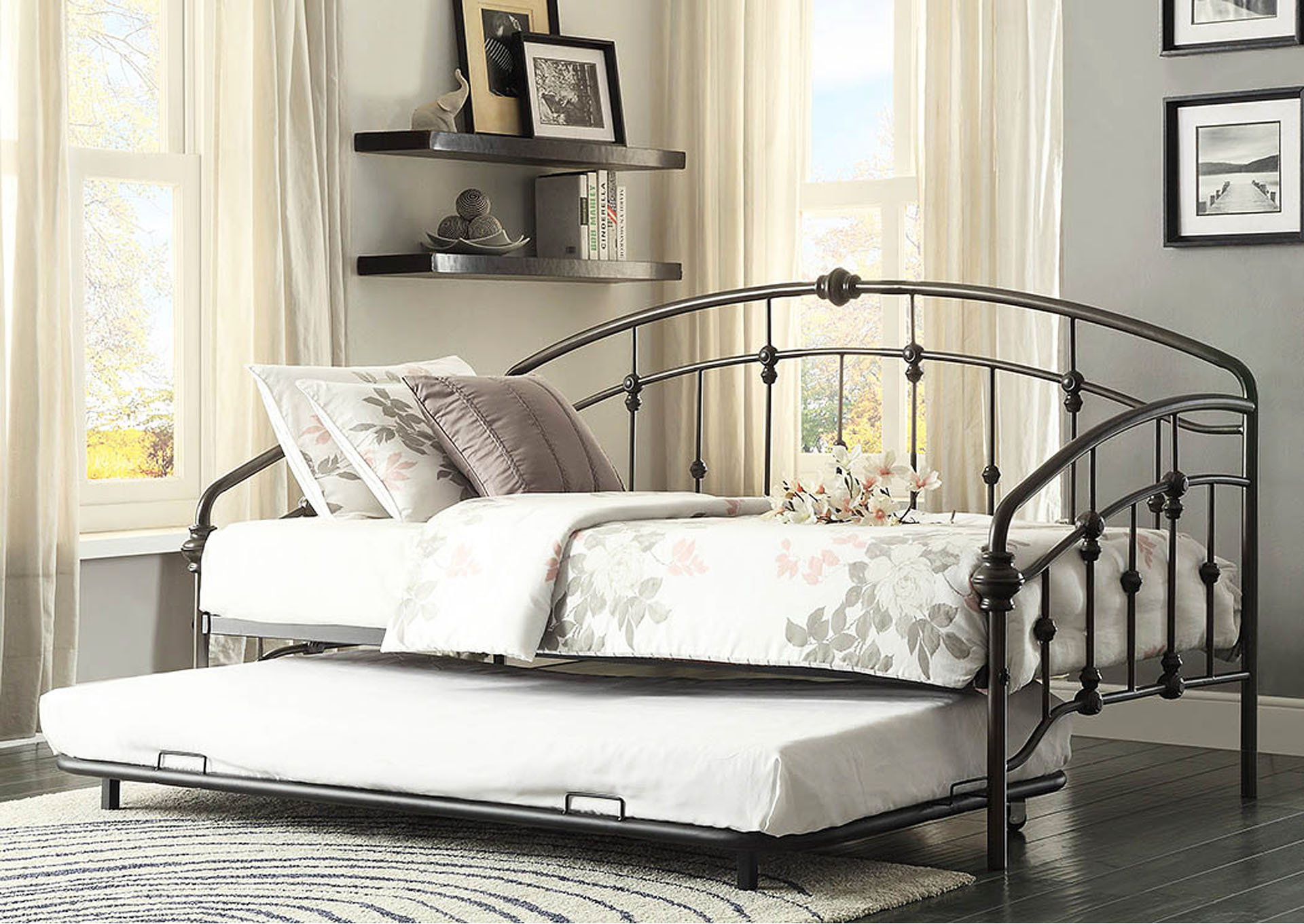 Ruby Rustic Metal Daybed w/Trundle,Homelegance