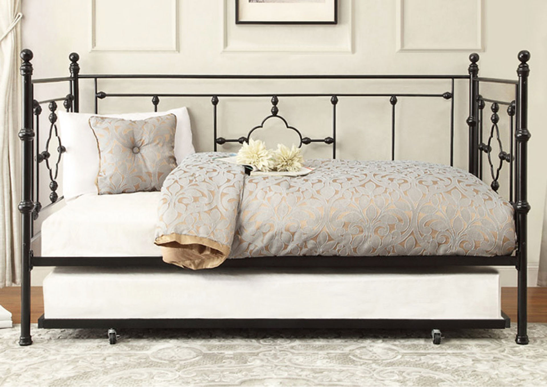 Metal Daybed w/Trundle, Black Frame,Homelegance