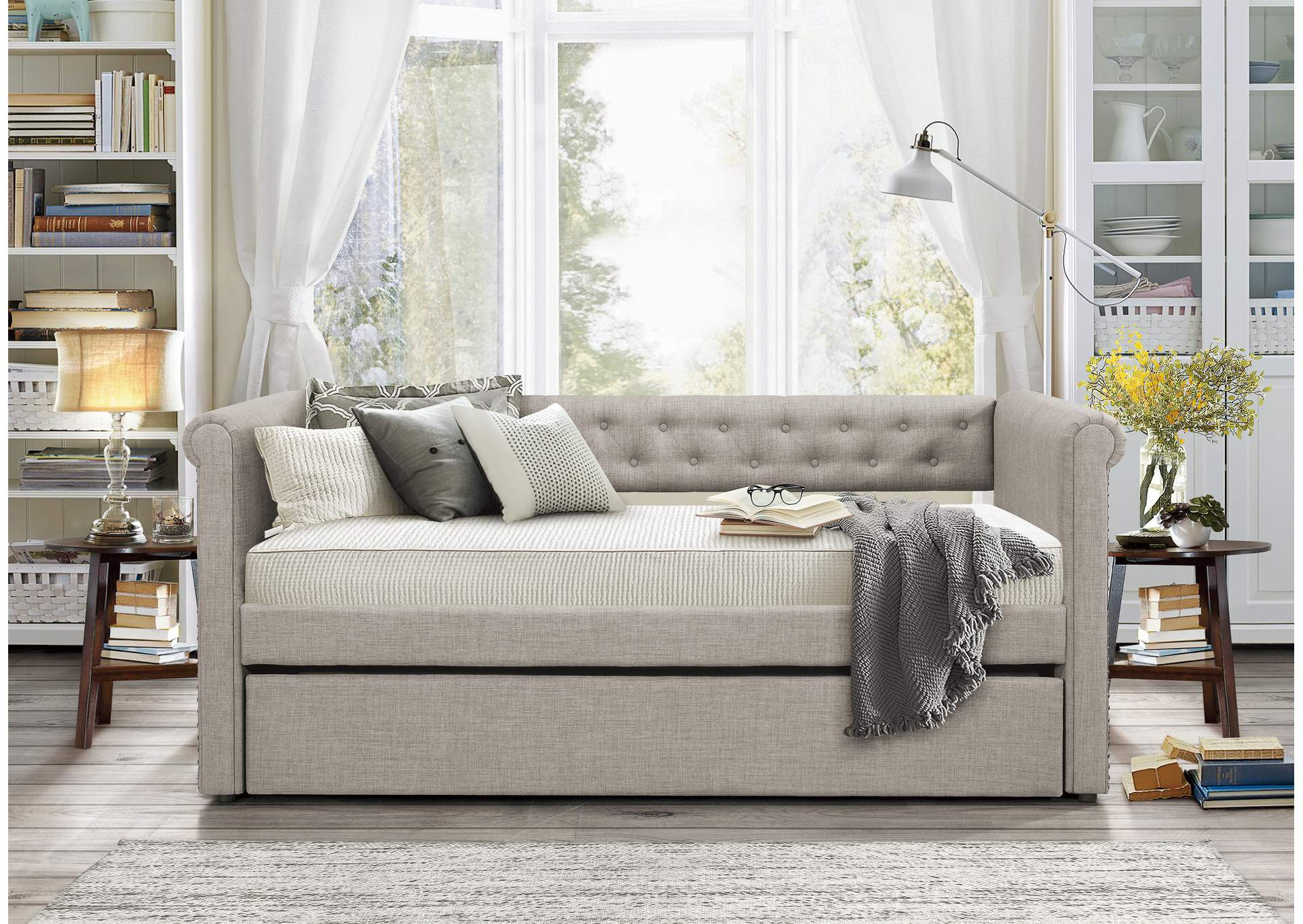 Daybed w/Trundle, Gray Fabric,Homelegance