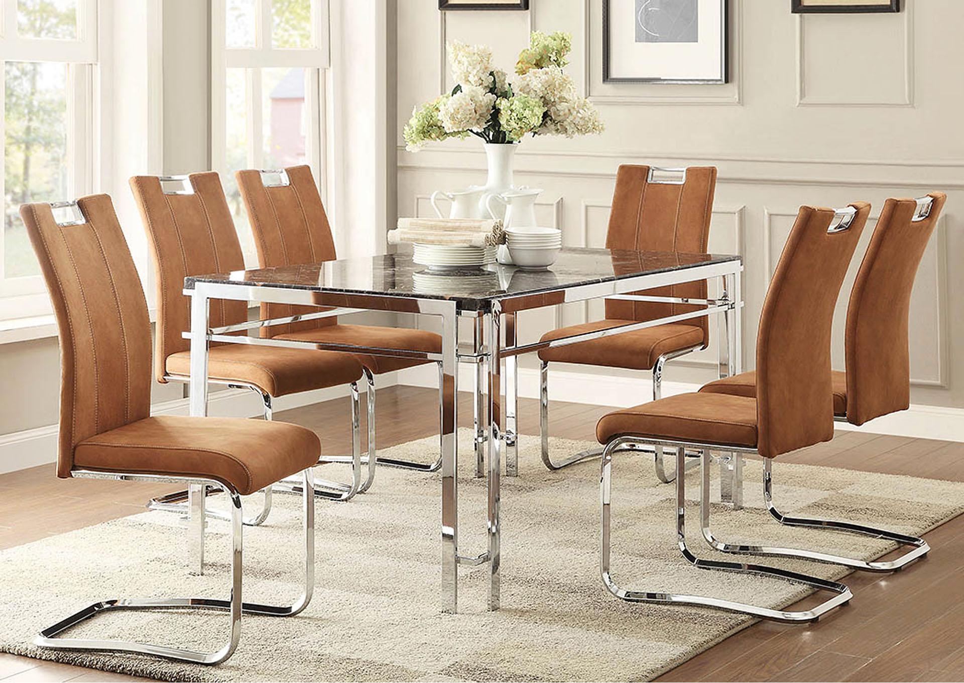 Joe Bs Furniture Watts 60 Chrome Frame Rectangular Faux Marble Top