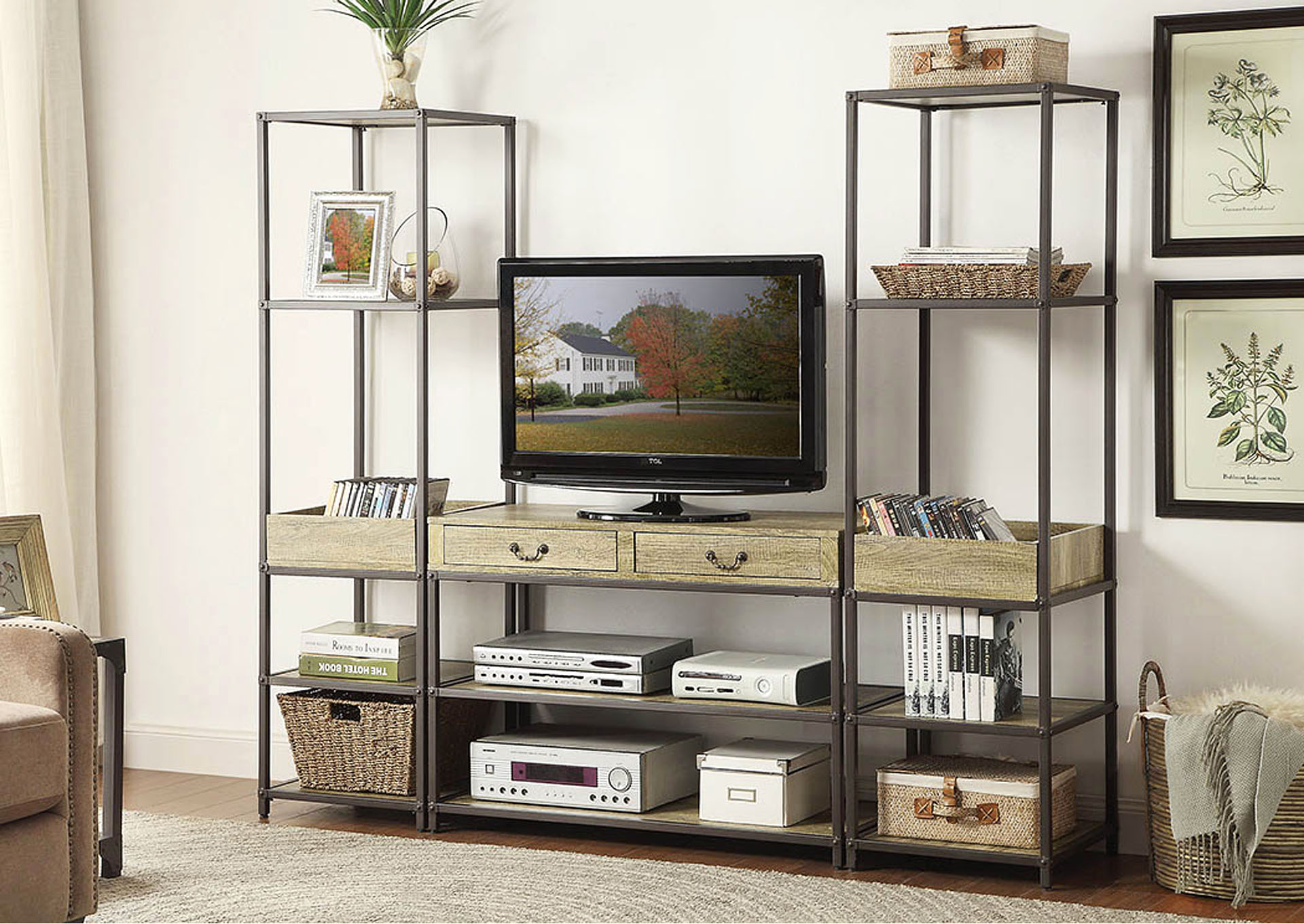 Rumi 3 Piece Metal & Burnished Wood TV Stand Set w/2 Side Piers,Homelegance