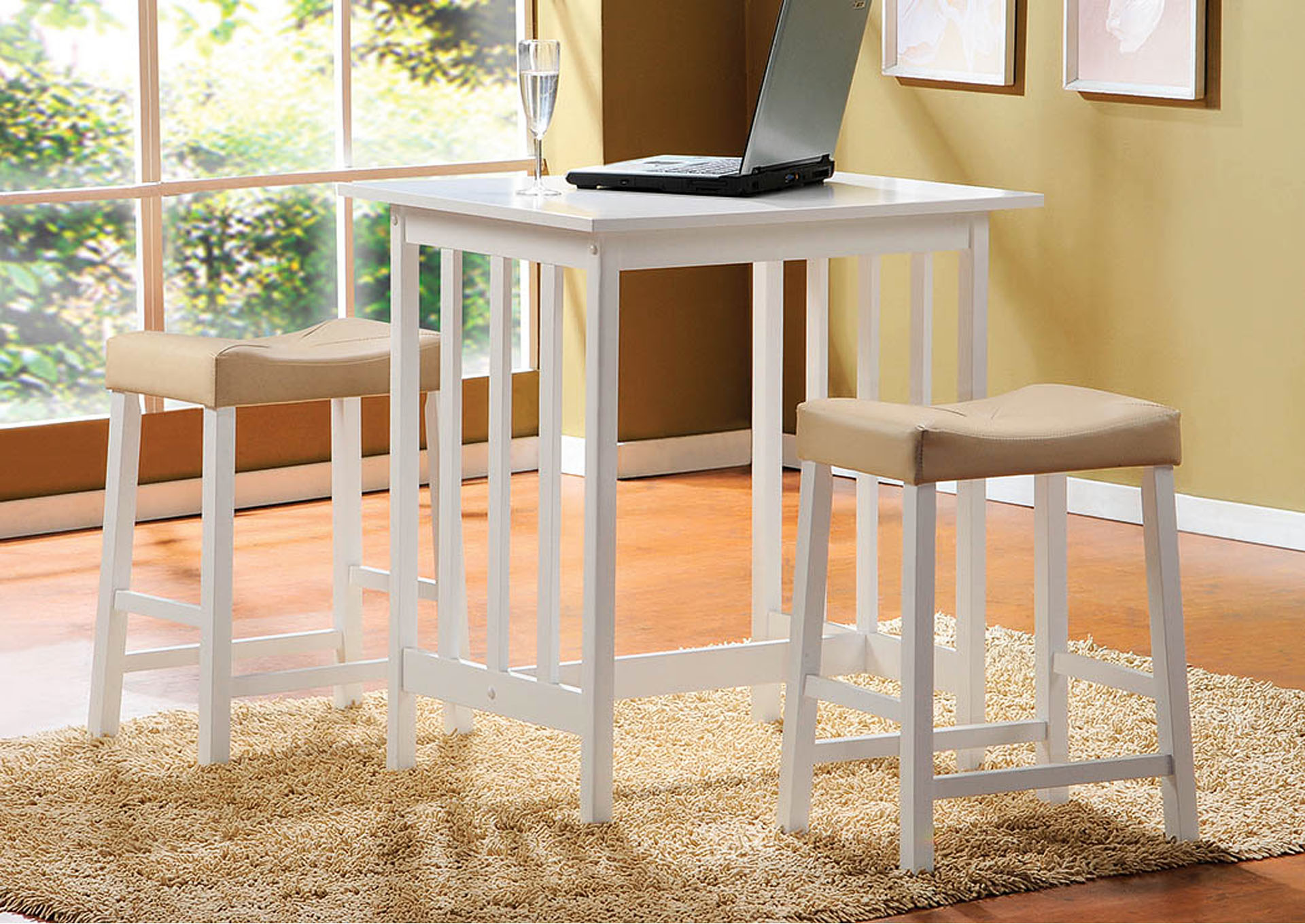 Samaritan Furniture Scottsdale White 3 Piece Counter Height Set W2