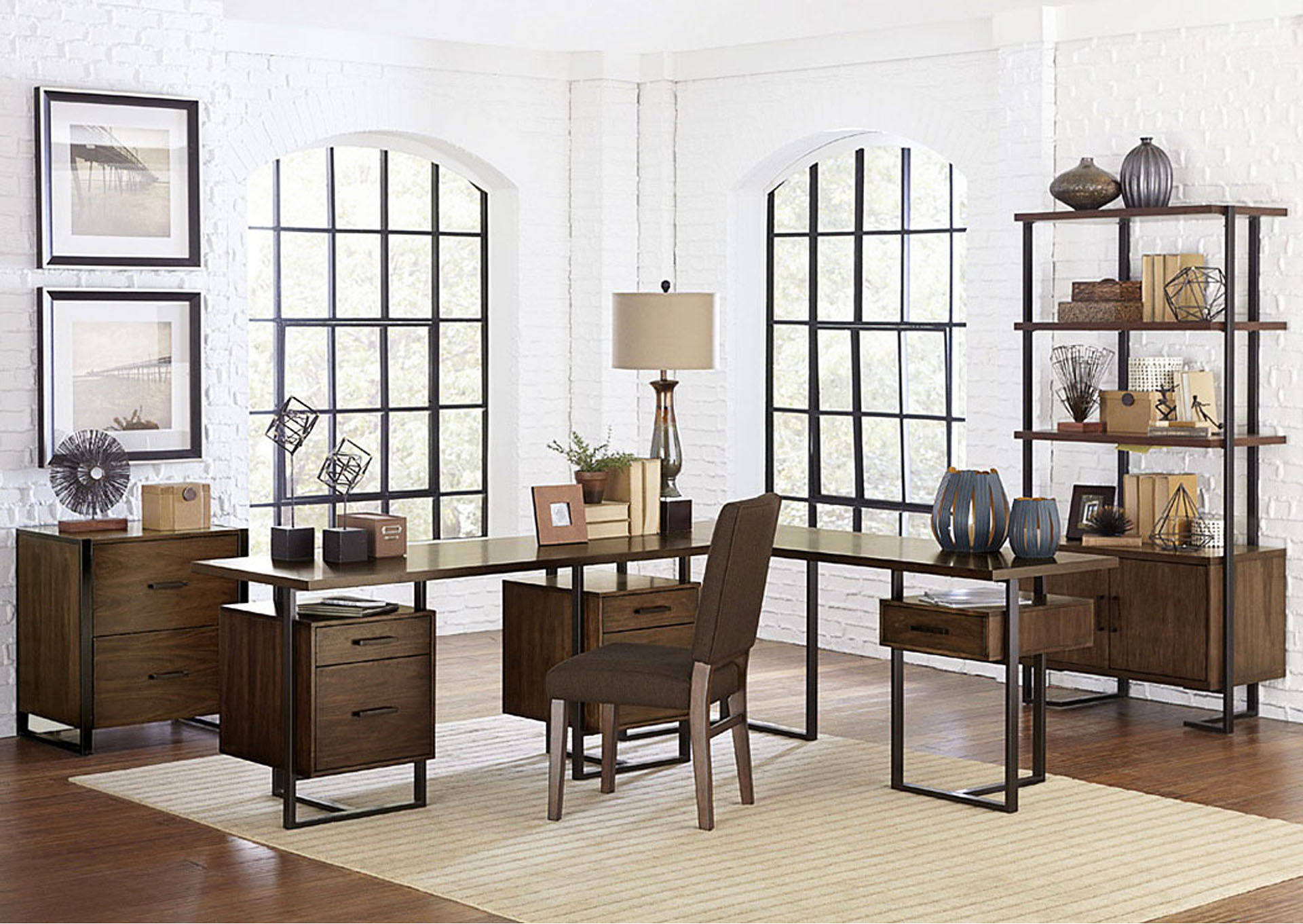 Return Desk w/1 Reversible Cabinet,Homelegance