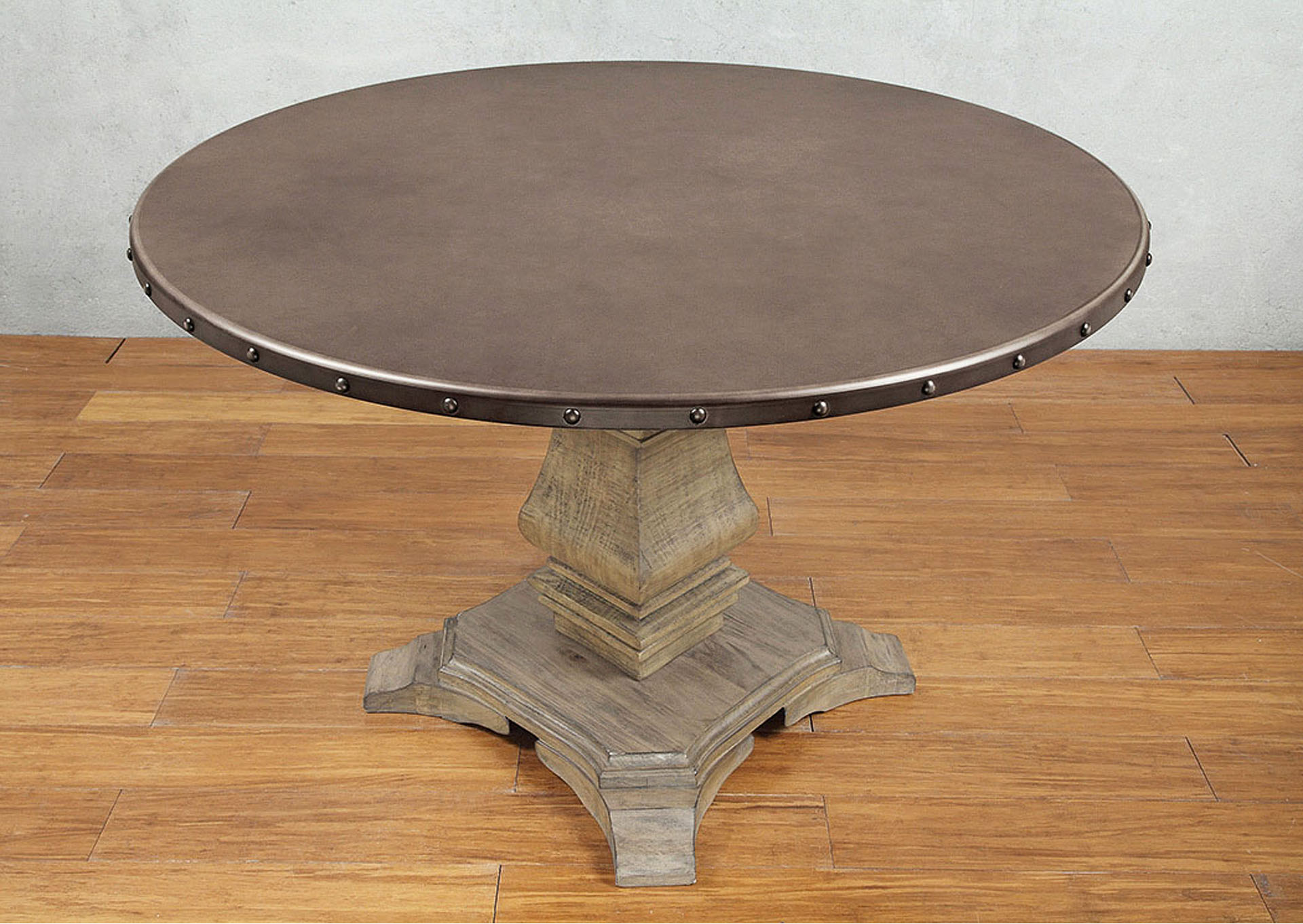 Round Dining Table, Zinc Top,Homelegance