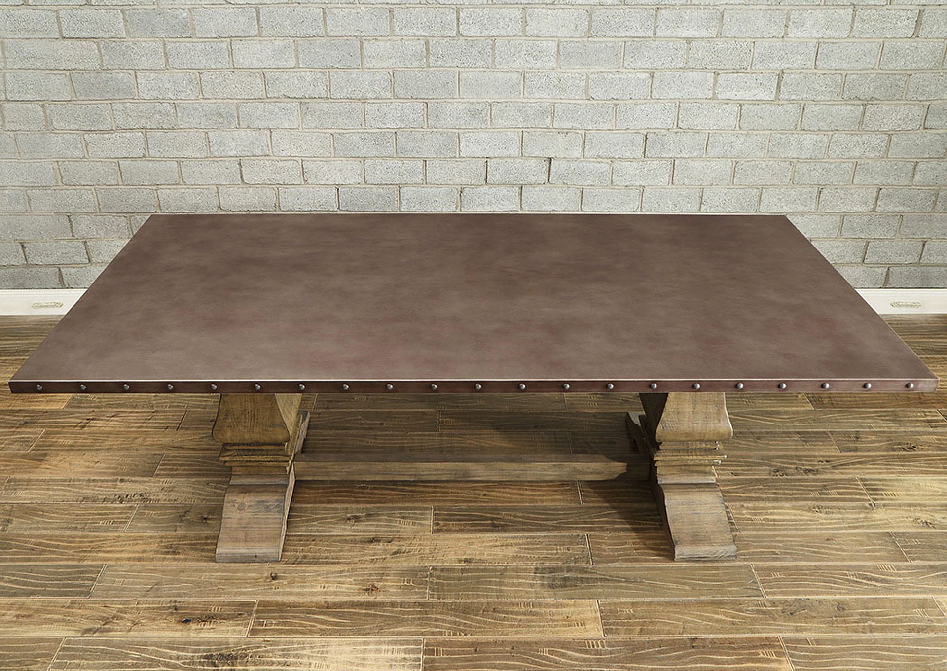 Dining Table, Zinc Top,Homelegance