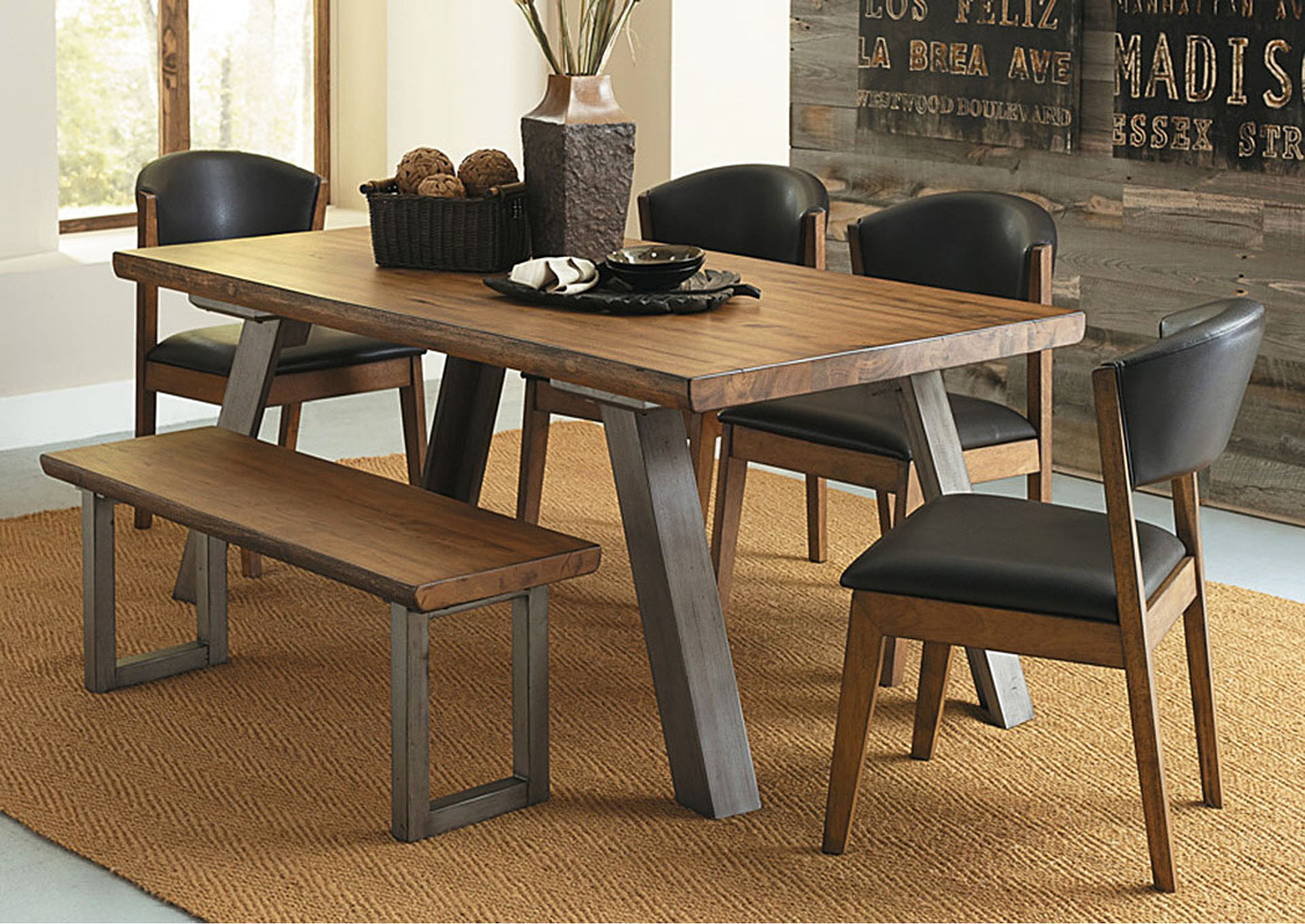 New Deal Mercantile Furniture Dining Table, Solid Wood Top ...
