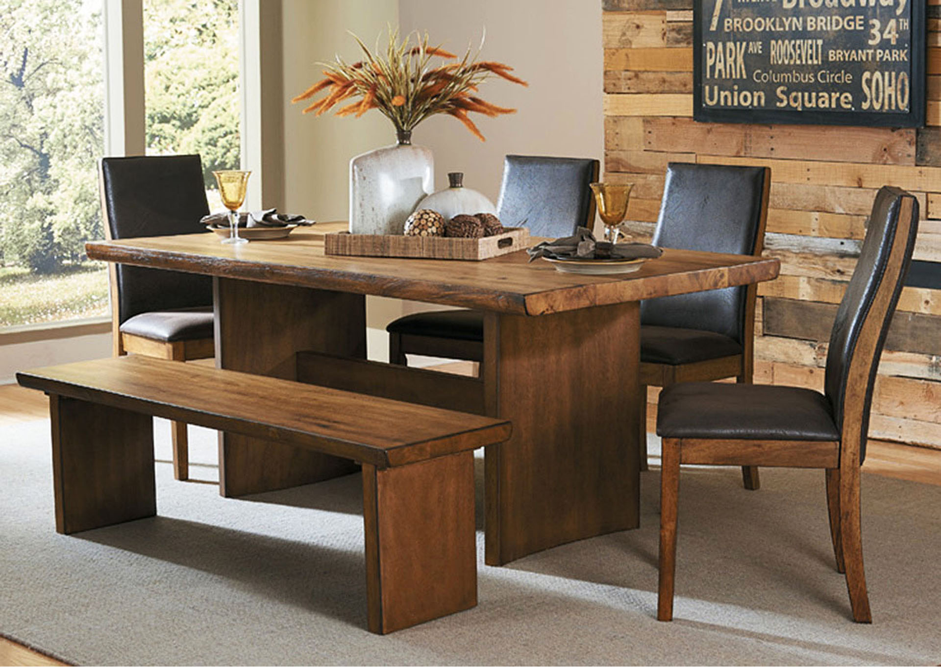 Trestle Dining Table, Solid Wood Top, Live Edge,Homelegance