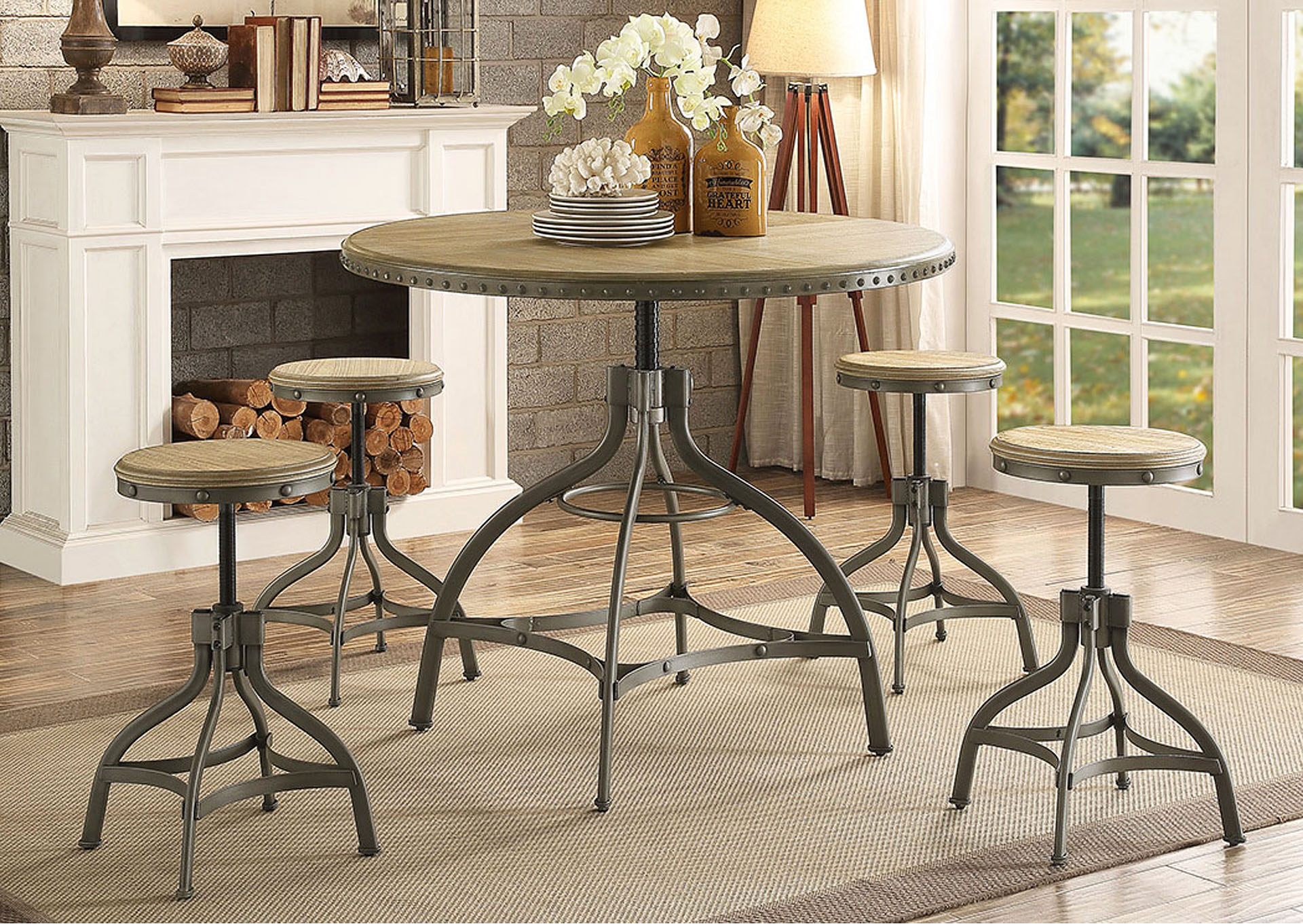 Round Adjustable Height Dining Table,Homelegance