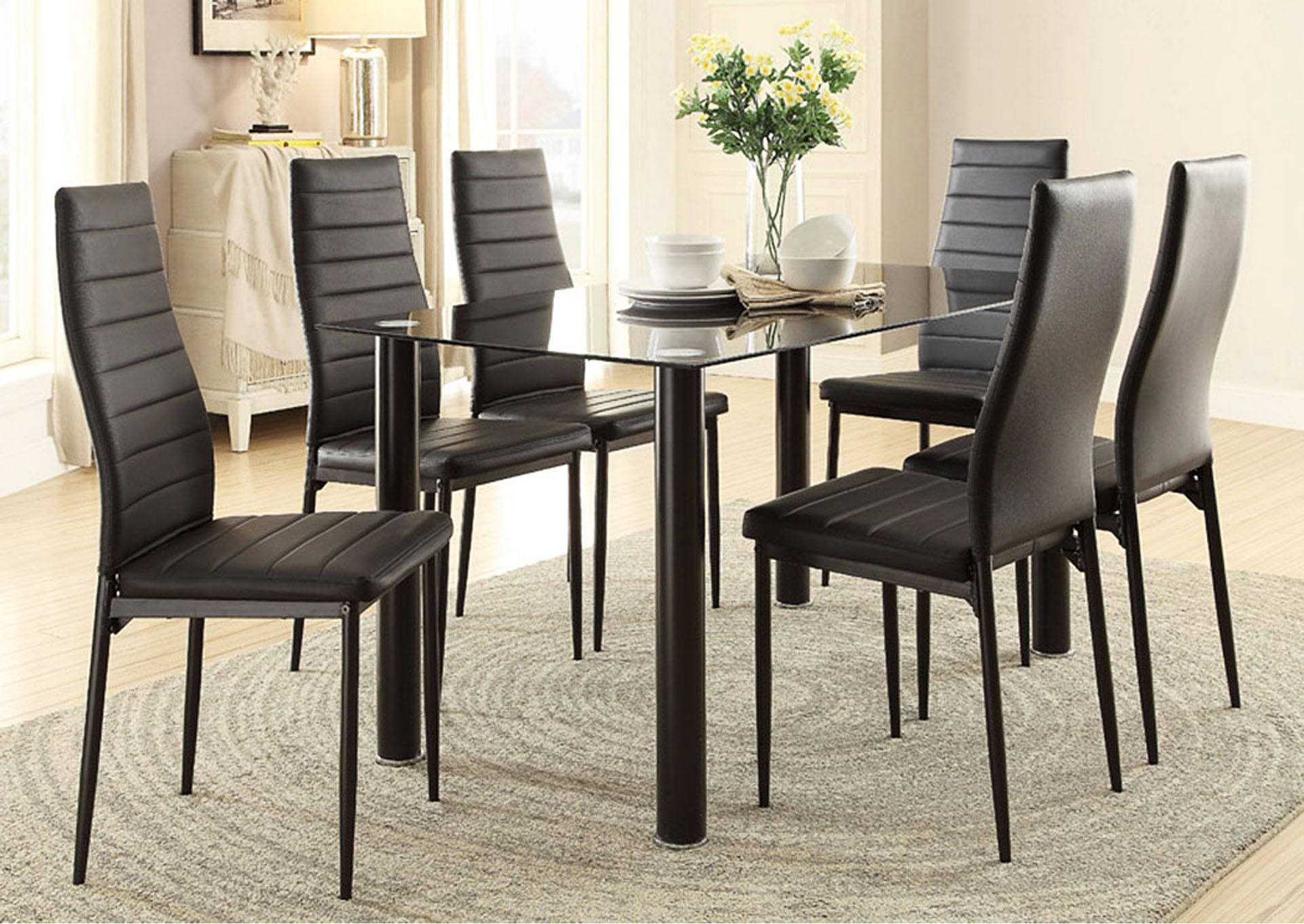 Dining Table, Black Glass Top,Homelegance