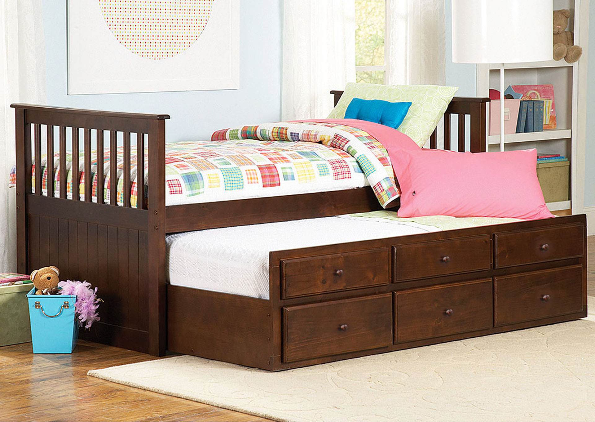 Zachary Twin Captains Bed w/Trundle,Homelegance