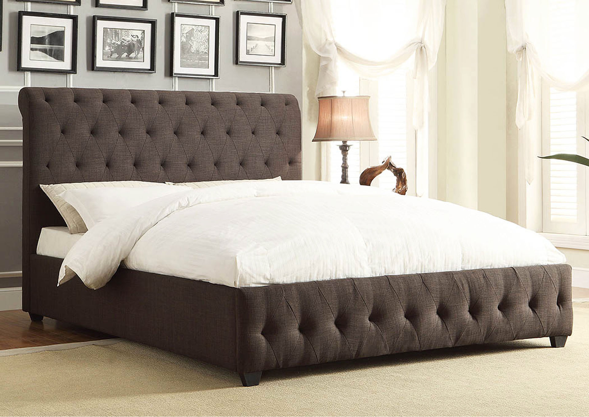 Baldwyn Grey Eastern King Platform/Upholstered Bed,Homelegance