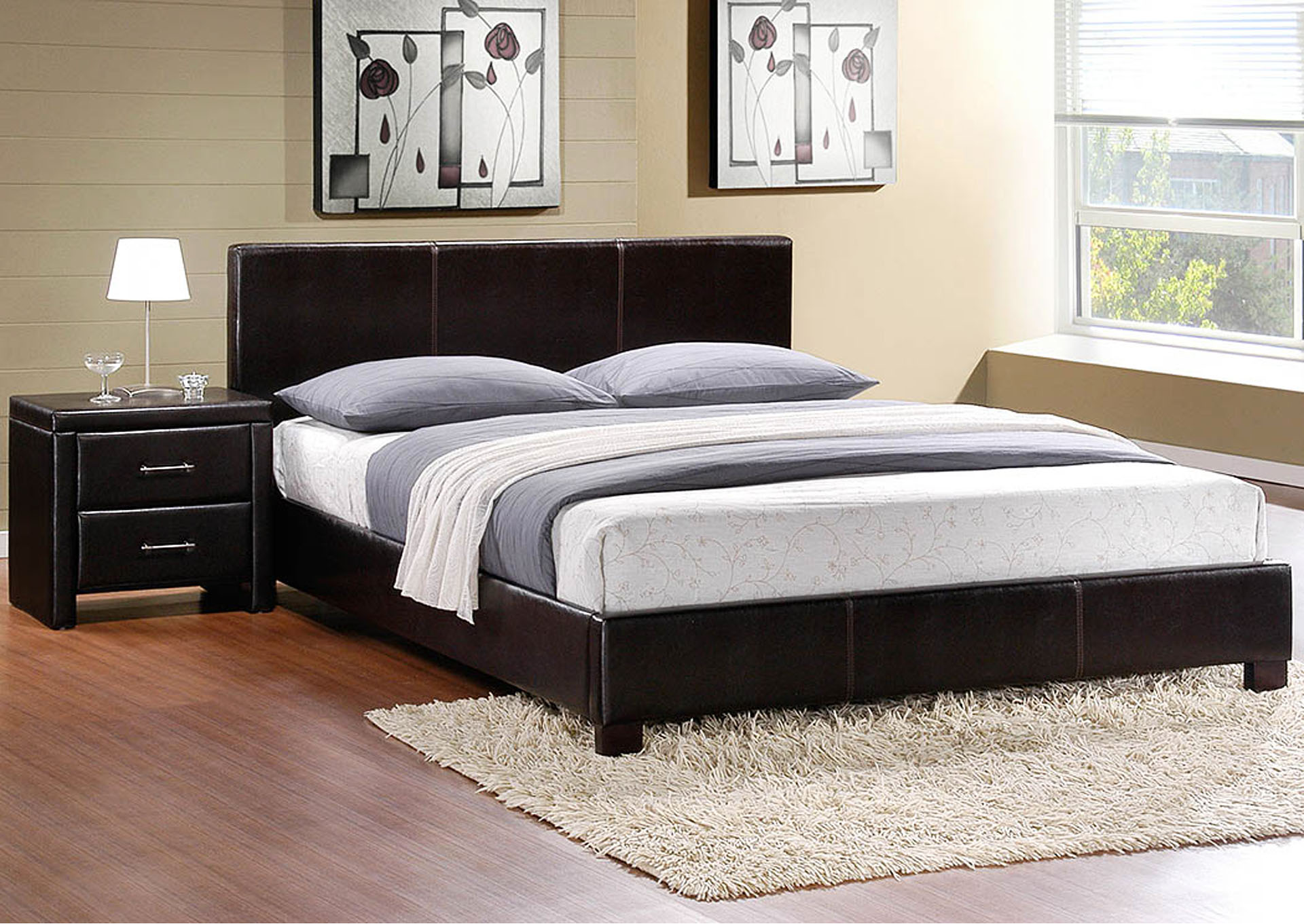 Zoey Dark Brown Full Platform/Upholstered Bed,Homelegance