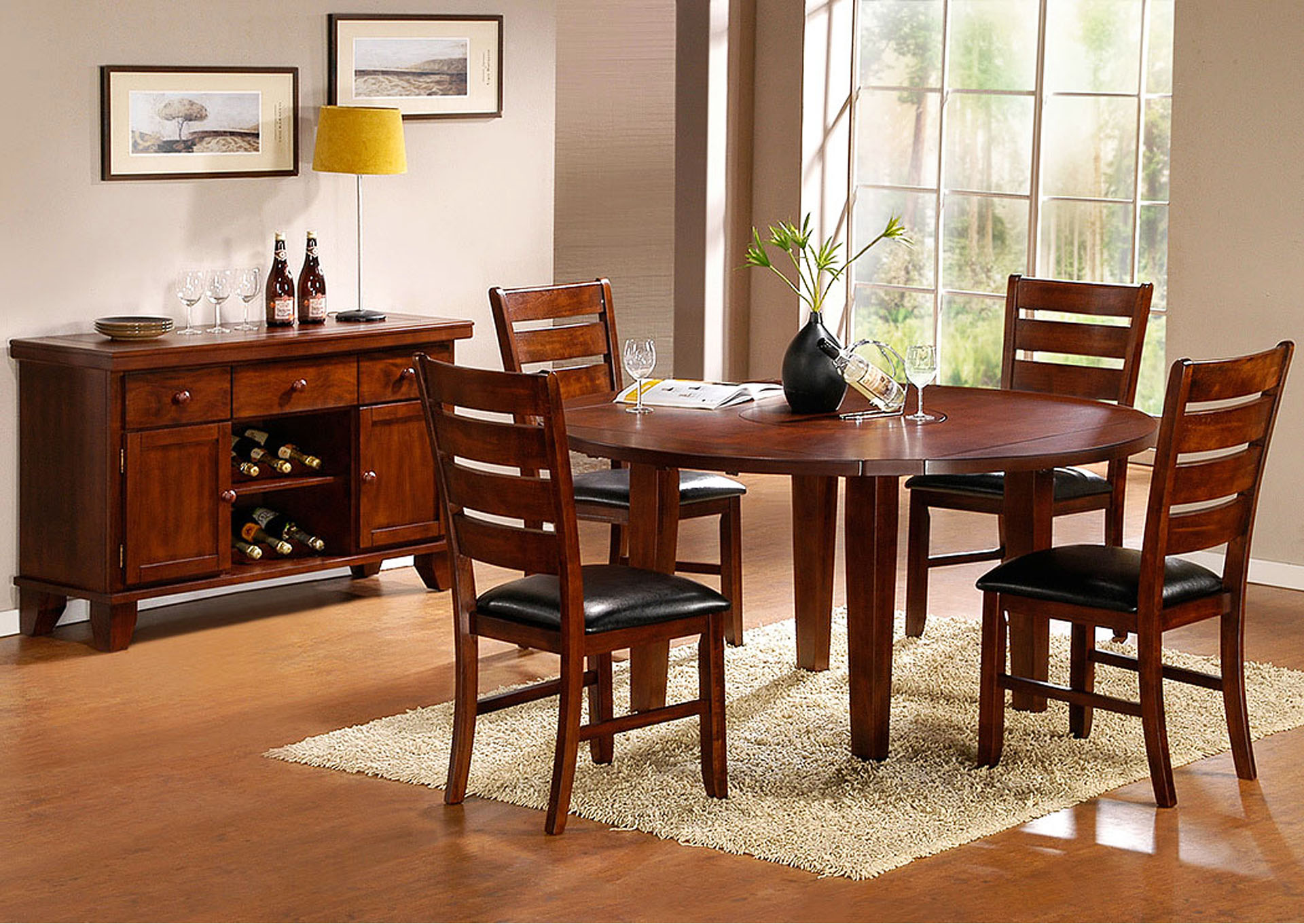 Nulook Furniture Ameillia Round Drop Leaf Dining Table W4 Side Chairs