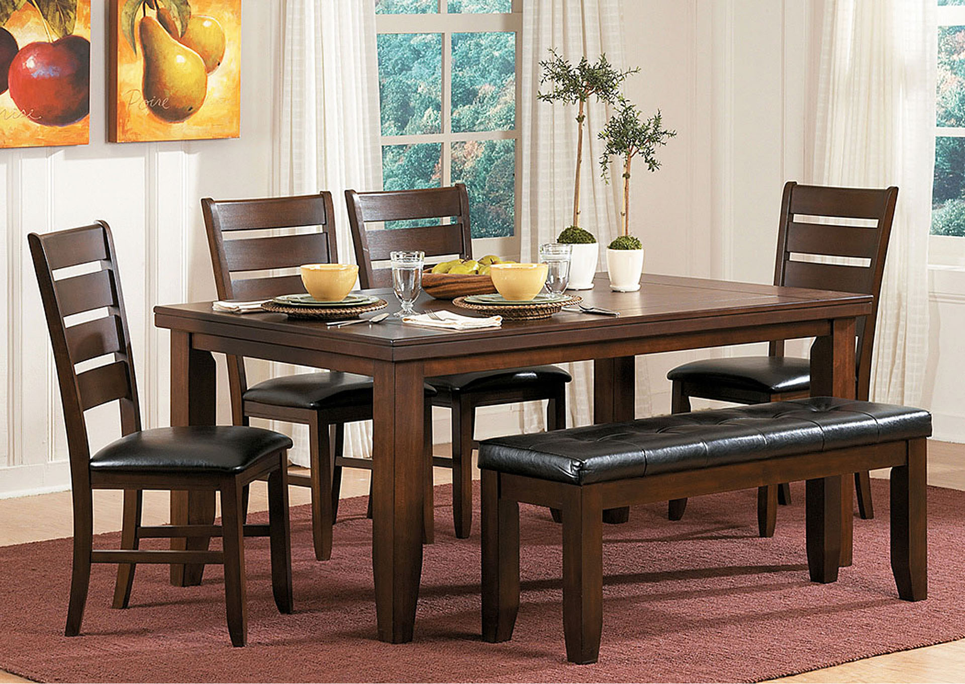 Ameillia Rectangular Dining Table w/4 Side Chairs,Homelegance